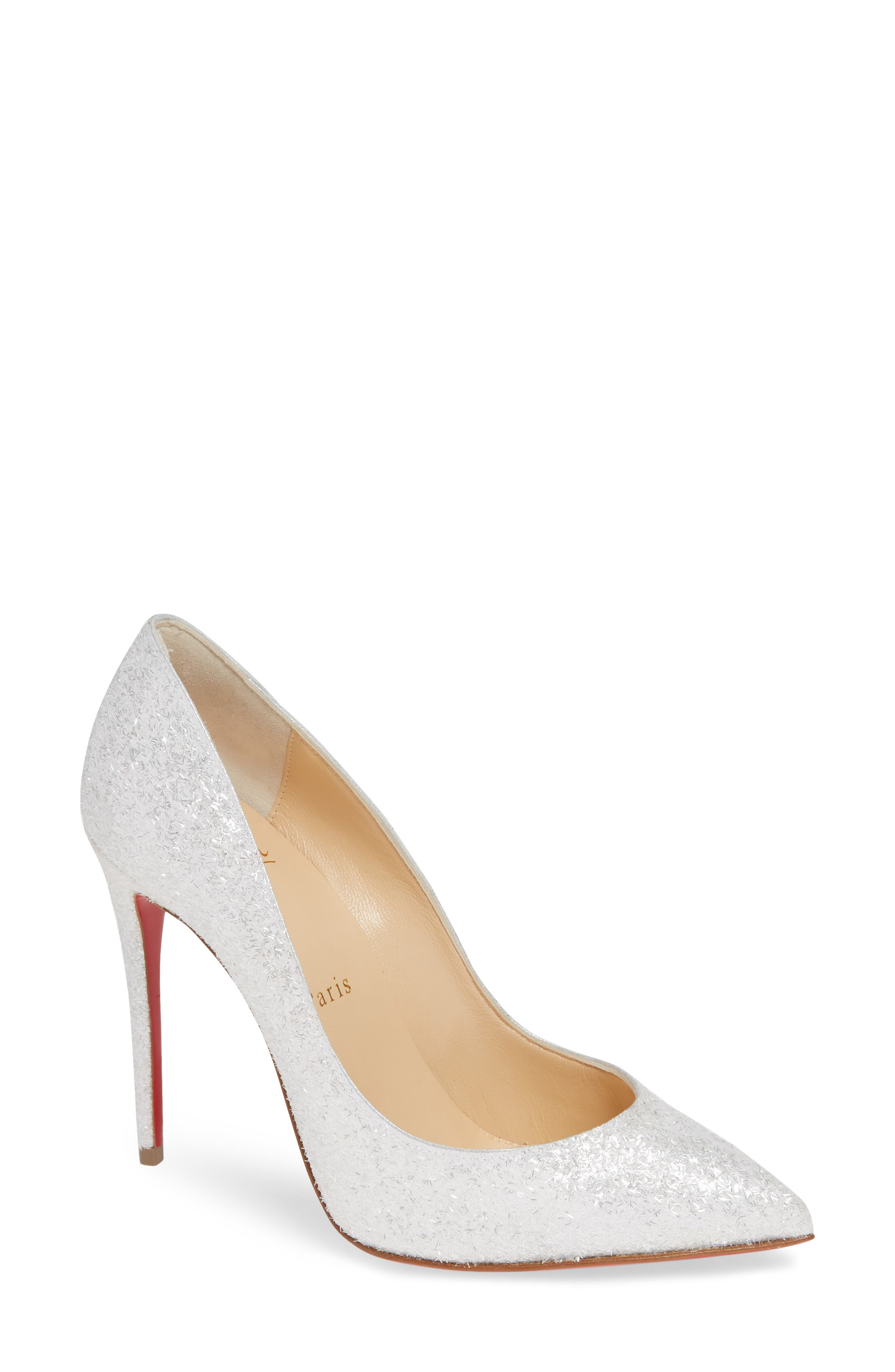 CHRISTIAN LOUBOUTIN, Pigalle Follies Pointy Toe Pump, Main thumbnail 1, color, WHITE GLITTER