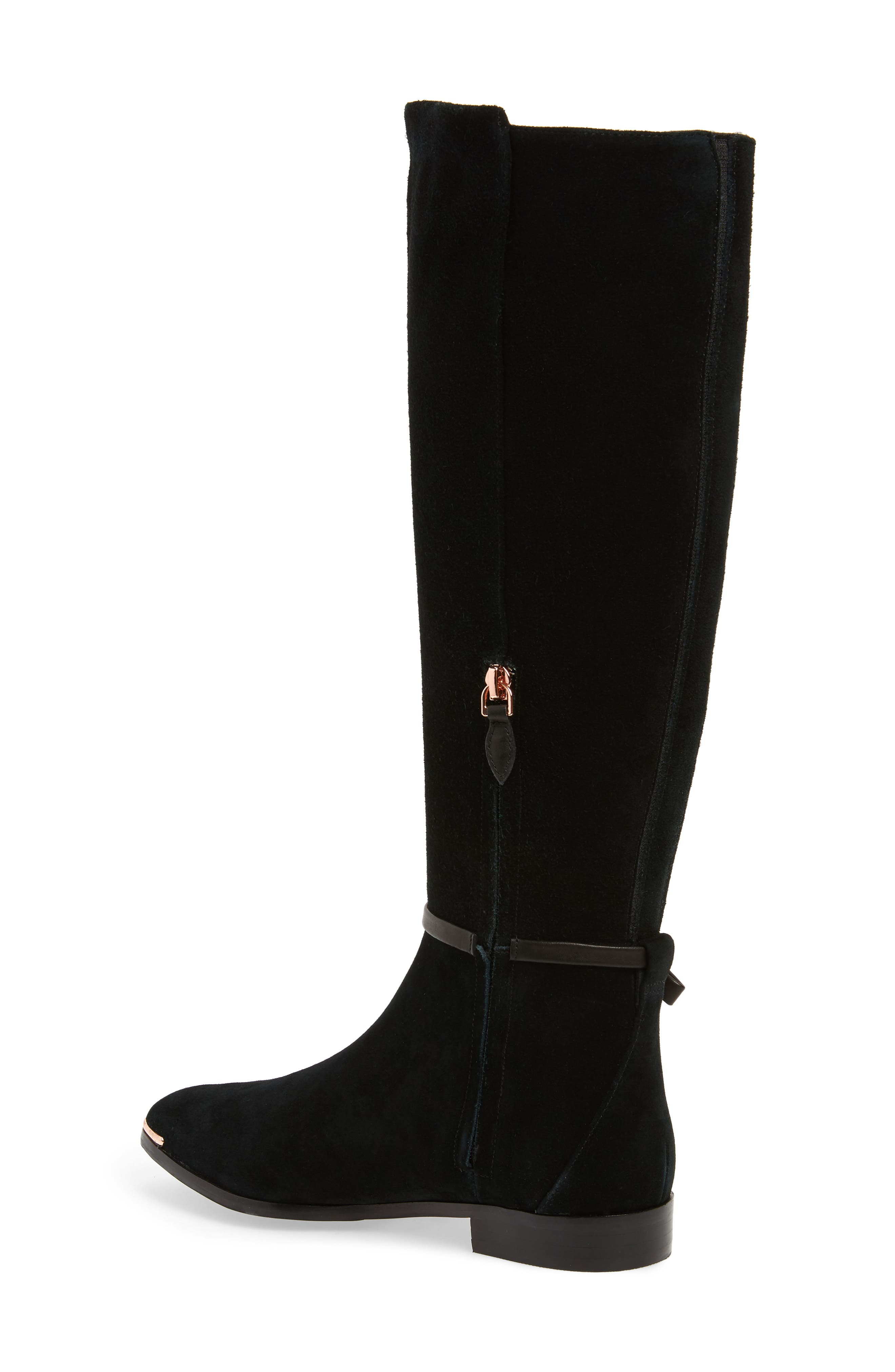 TED BAKER LONDON, Lykla Knee High Boot, Alternate thumbnail 2, color, BLACK SUEDE
