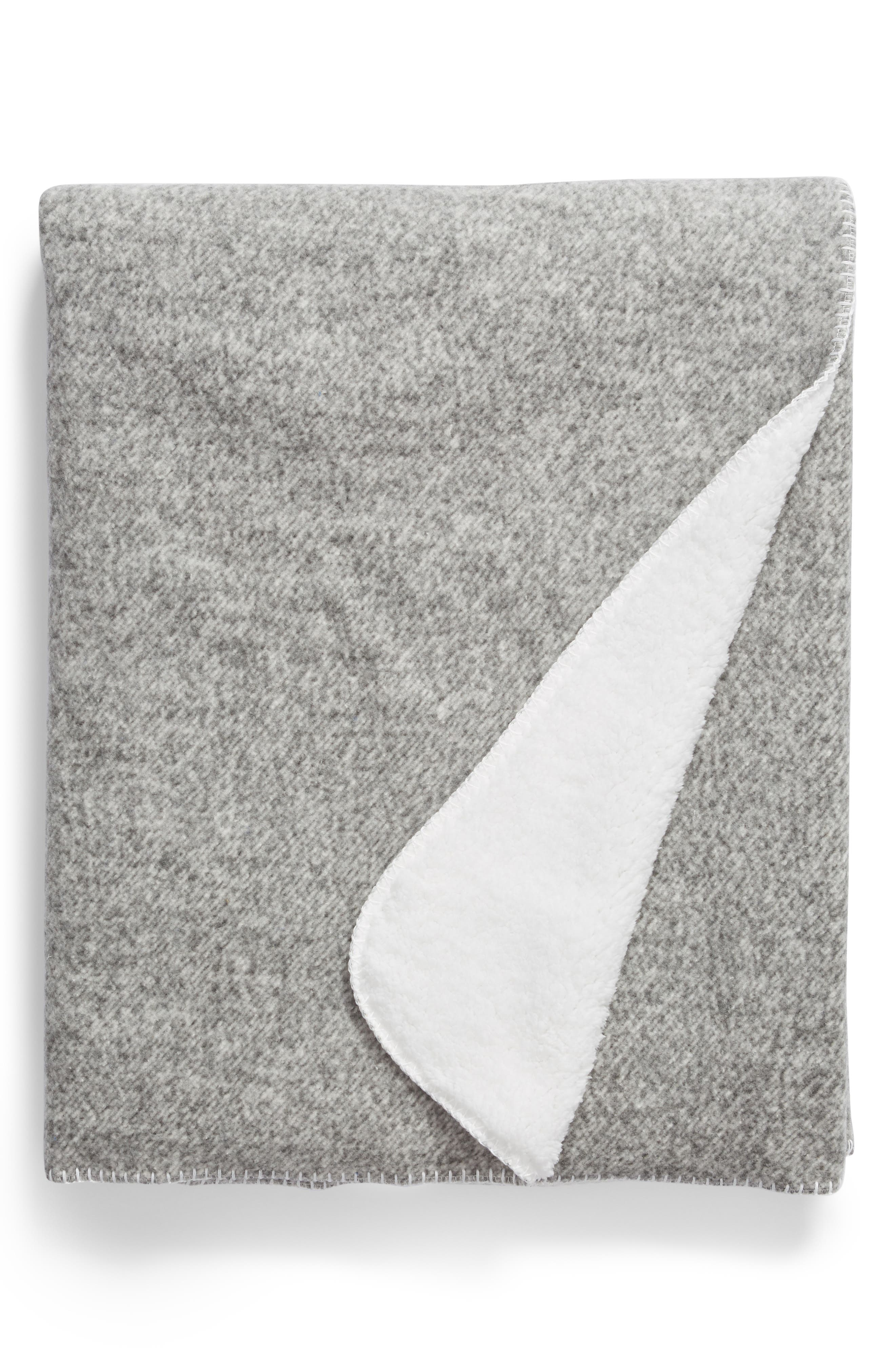 NORDSTROM AT HOME, Heather Faux Shearling Throw, Main thumbnail 1, color, GREY FROST