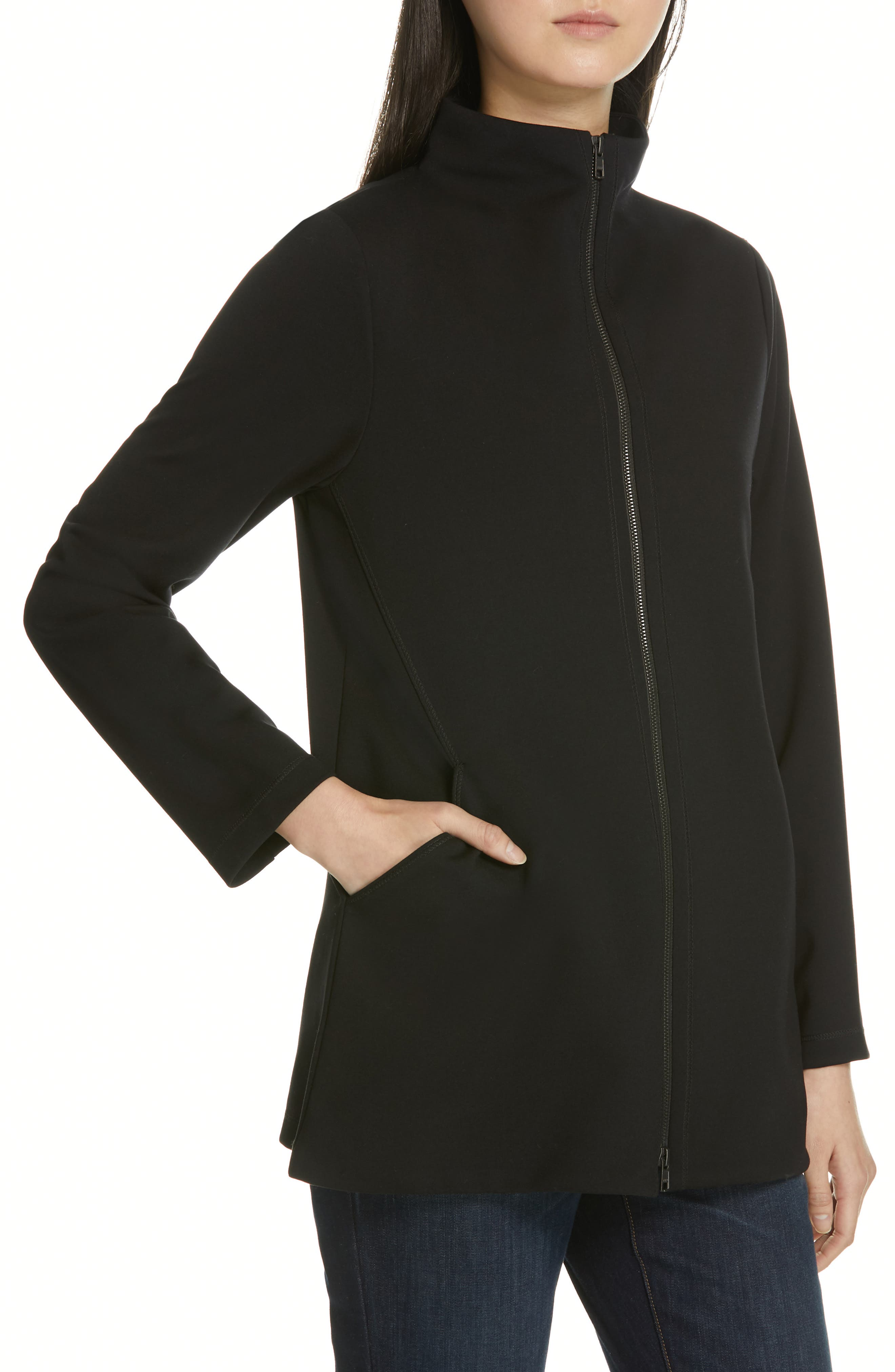 EILEEN FISHER, Zip Front Jacket, Alternate thumbnail 5, color, 001