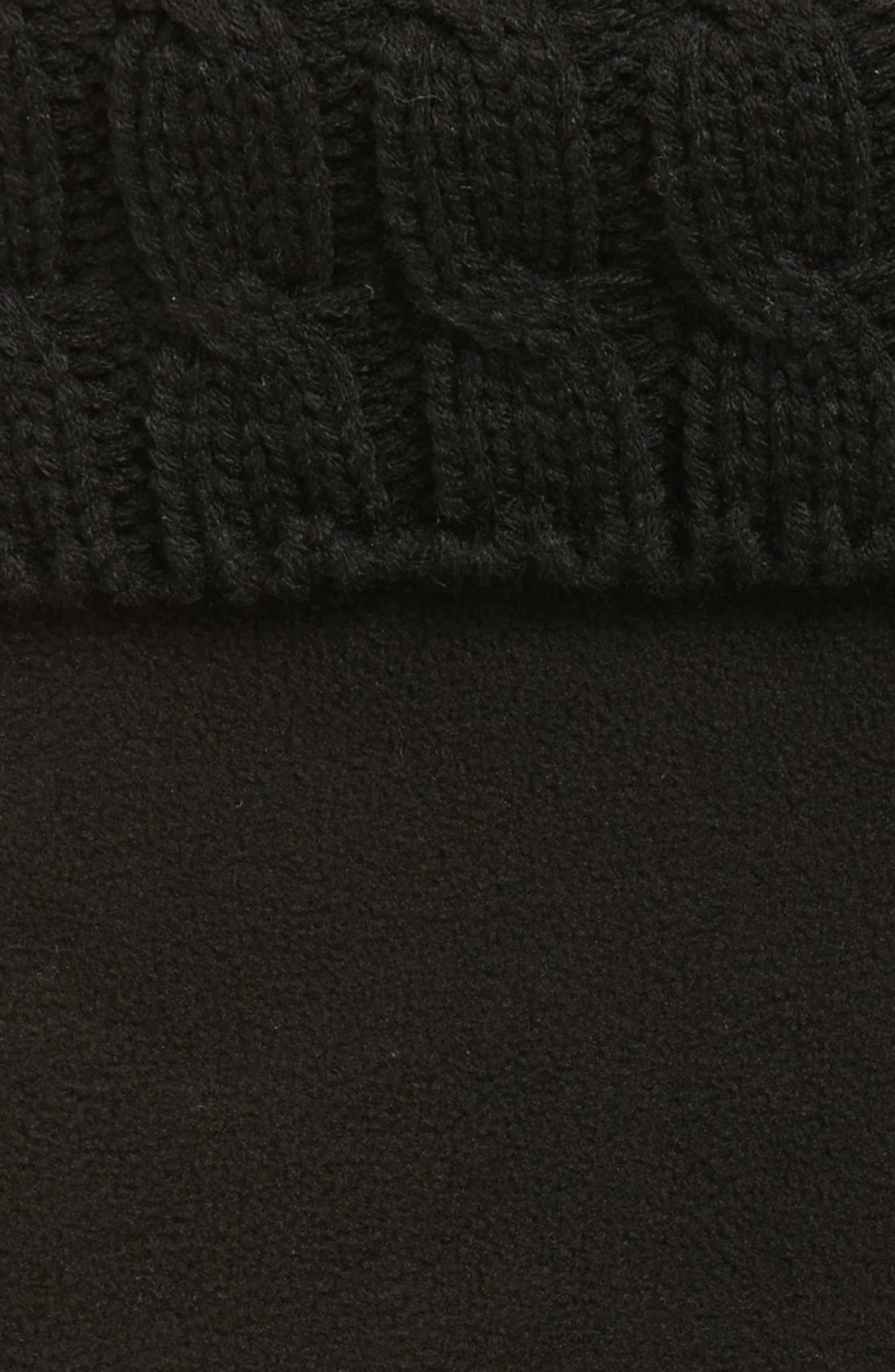 HUNTER, Original Tall Cable Knit Cuff Welly Boot Socks, Alternate thumbnail 2, color, BLACK