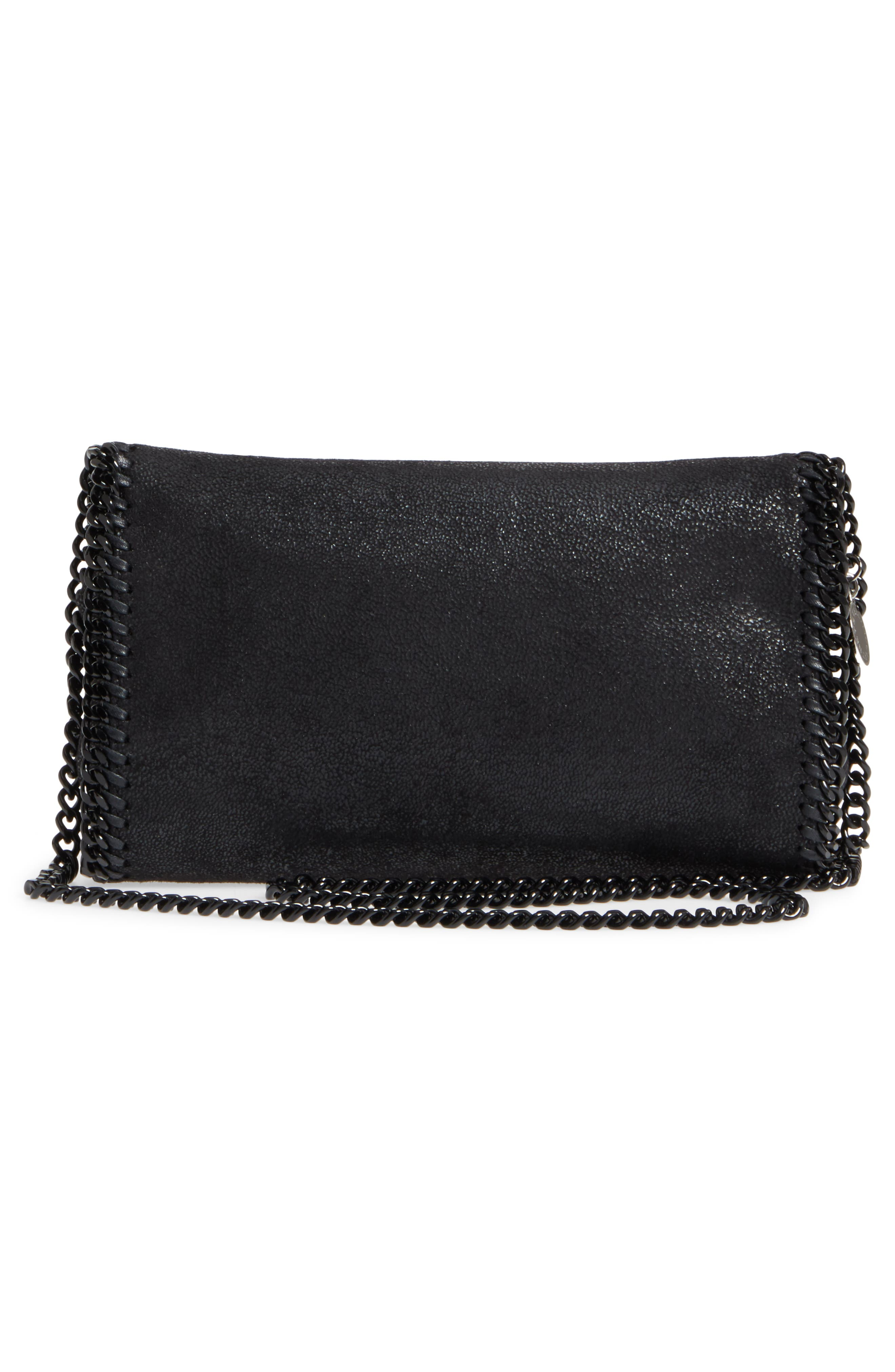 STELLA MCCARTNEY, Falabella Shaggy Deer Faux Leather Clutch, Alternate thumbnail 3, color, BLACK OUT