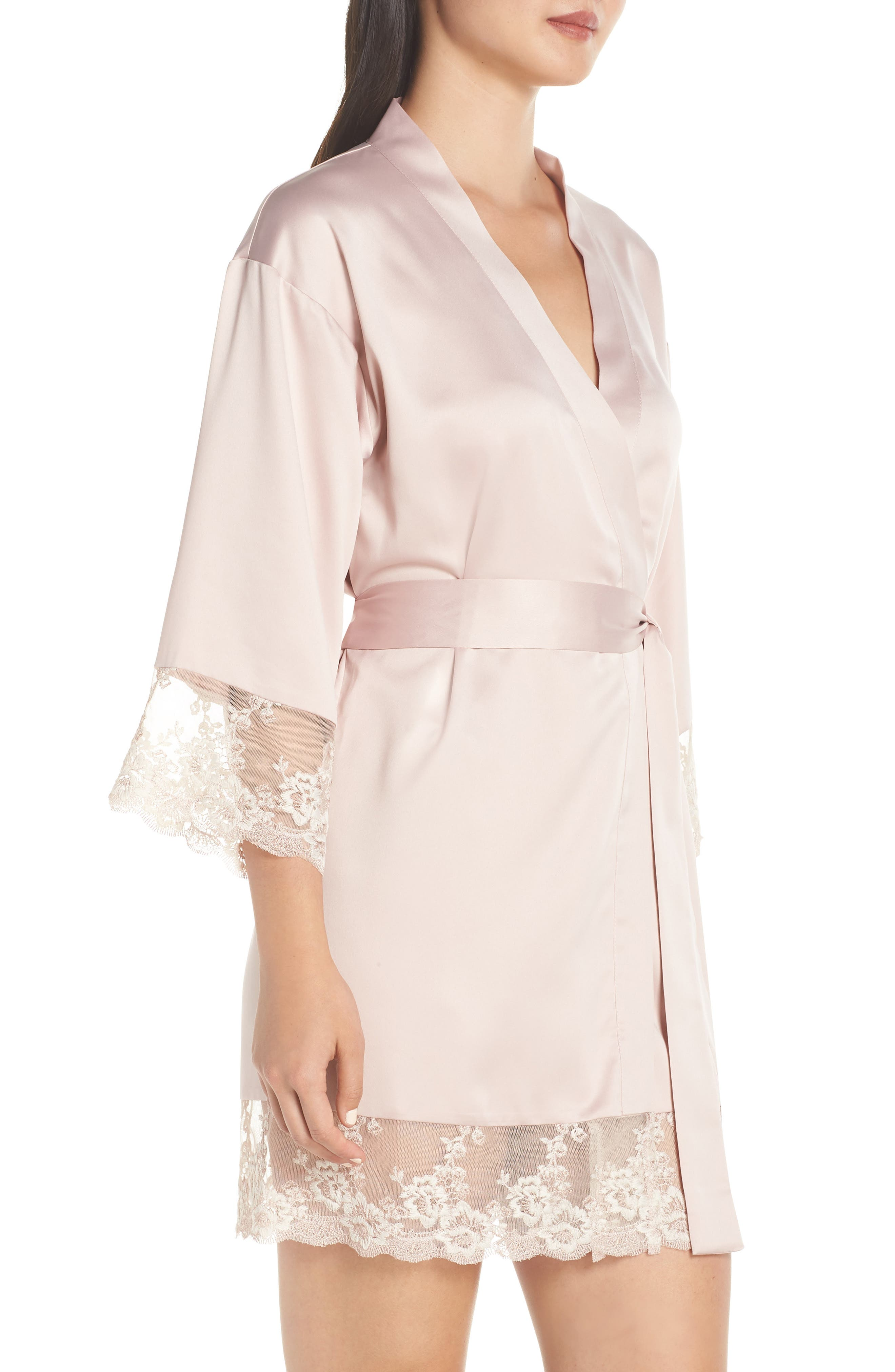 FLORA NIKROOZ, Rosa Kimono Robe, Alternate thumbnail 3, color, SHELL PINK