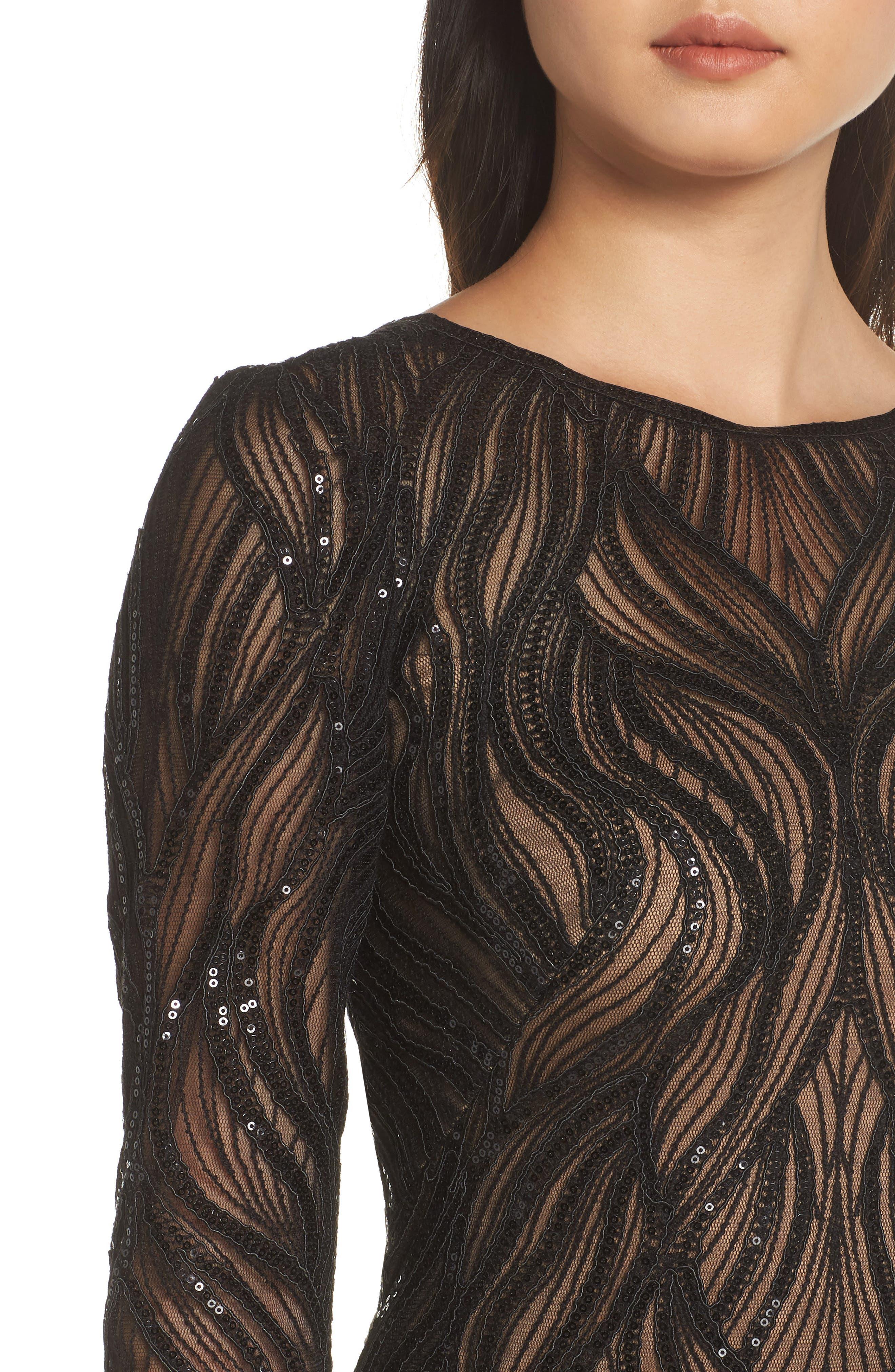 TADASHI SHOJI, Long Sleeve Sequined Mesh Evening Dress, Alternate thumbnail 5, color, 001