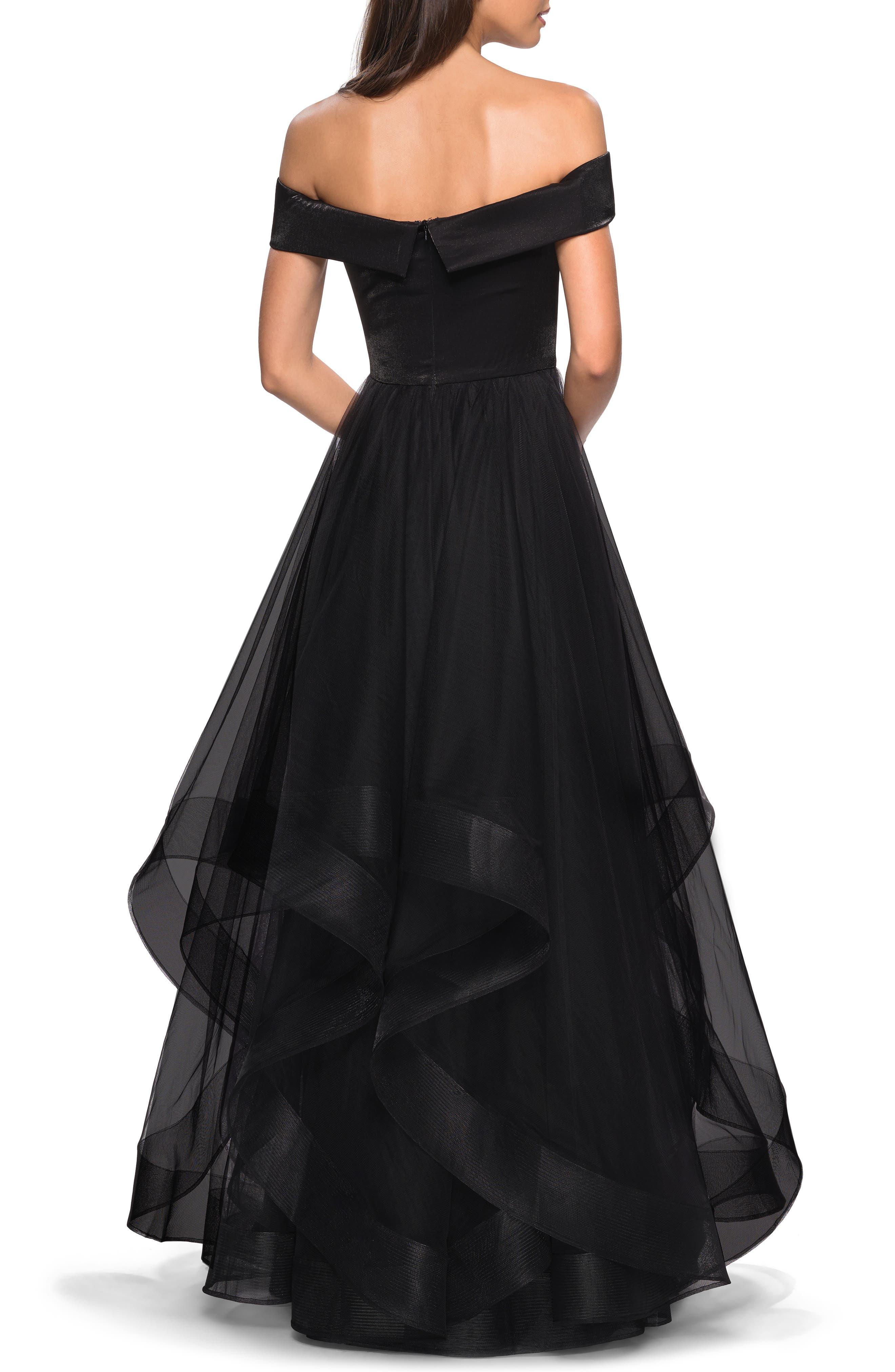 LA FEMME, Off the Shoulder Evening Dress, Alternate thumbnail 2, color, BLACK