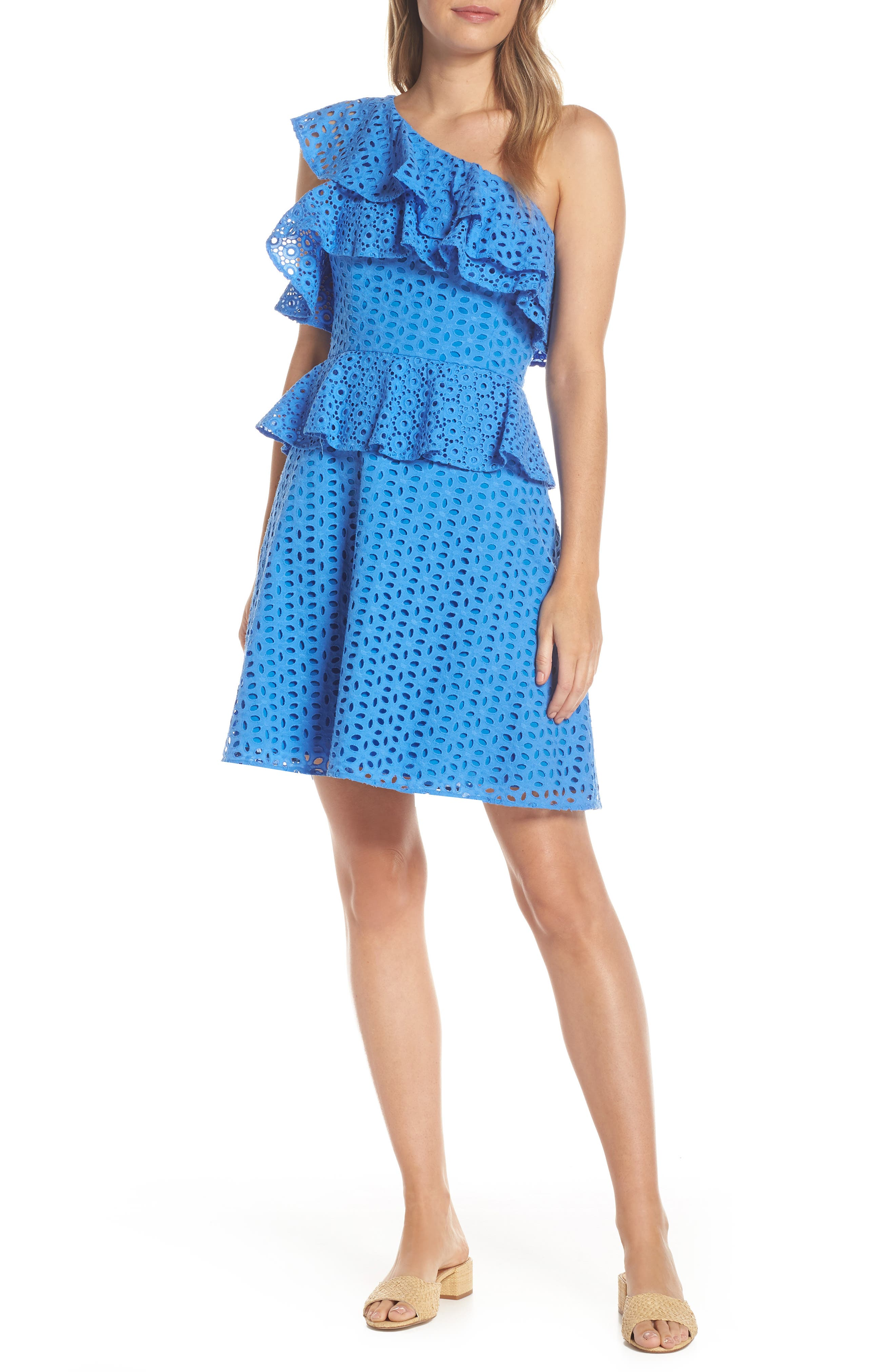 LILLY PULITZER<SUP>®</SUP> Josey Eyelet One-Shoulder Dress, Main, color, COASTAL BLUE OVAL FLOWER