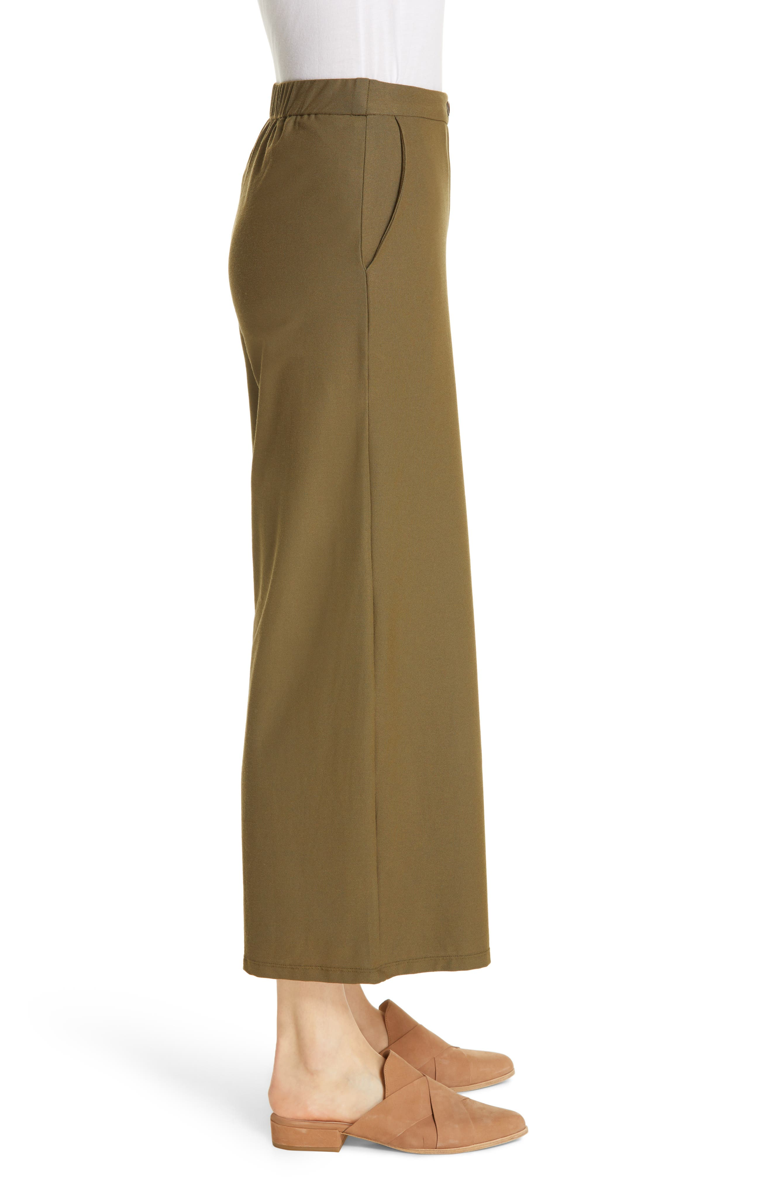 EILEEN FISHER, High Waist Ankle Pants, Alternate thumbnail 4, color, OLIVE