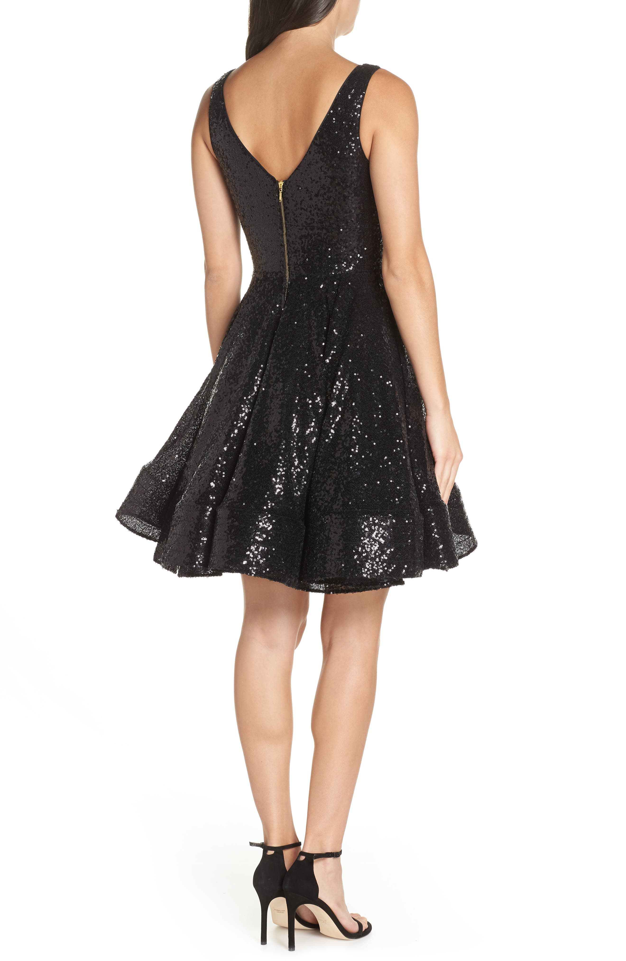 IEENA FOR MAC DUGGAL, Double V-Neck Fit & Flare Party Dress, Alternate thumbnail 2, color, NOIR
