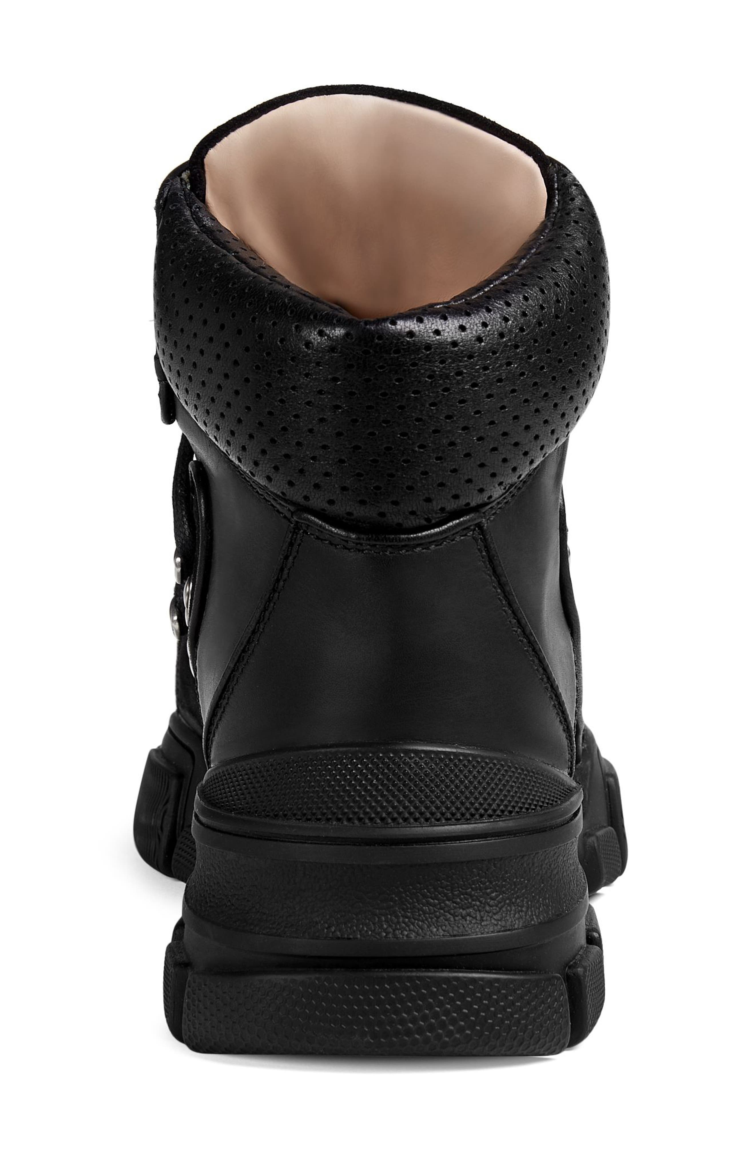 GUCCI, Lace-Up Boot, Alternate thumbnail 5, color, BLACK