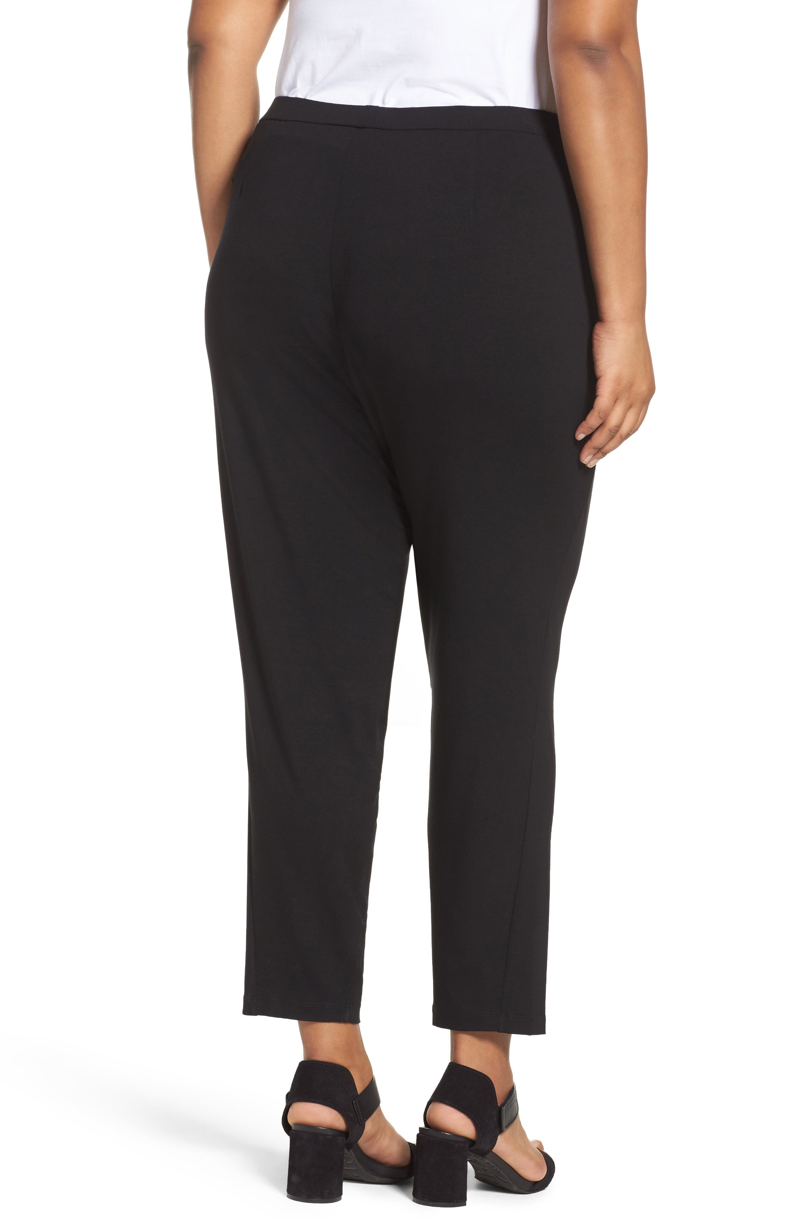 EILEEN FISHER, Crop Stretch Knit Pants, Alternate thumbnail 2, color, BLACK
