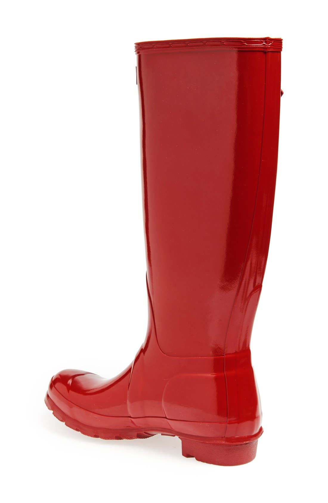 HUNTER, Original High Gloss Waterproof Boot, Alternate thumbnail 2, color, MILITARY RED