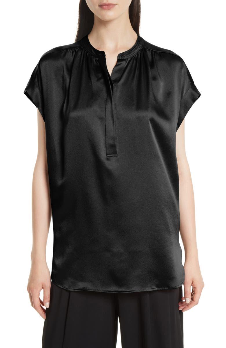 c768a1209d5cc0 VINCE Shirred Silk Blouse, Main, color, 001