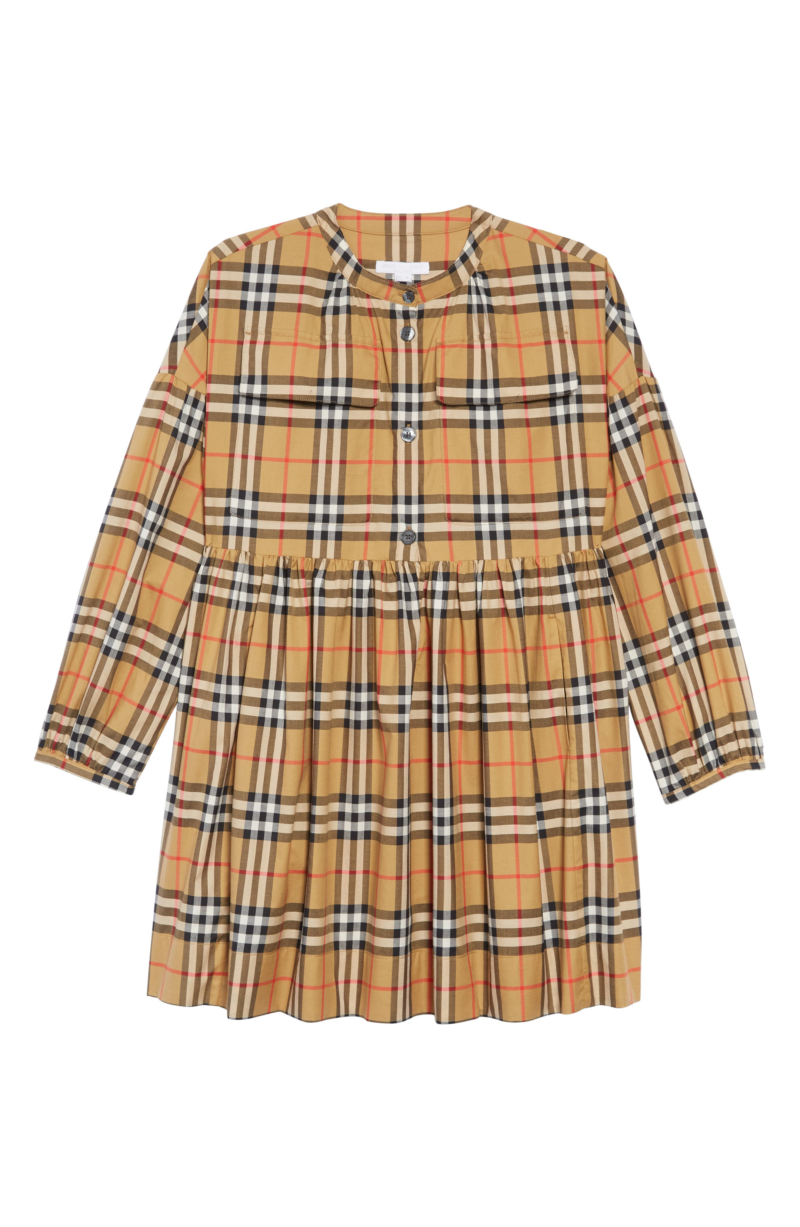 BURBERRY, Marny Dress, Main thumbnail 1, color, ANTIQUE YELLW IP CHK