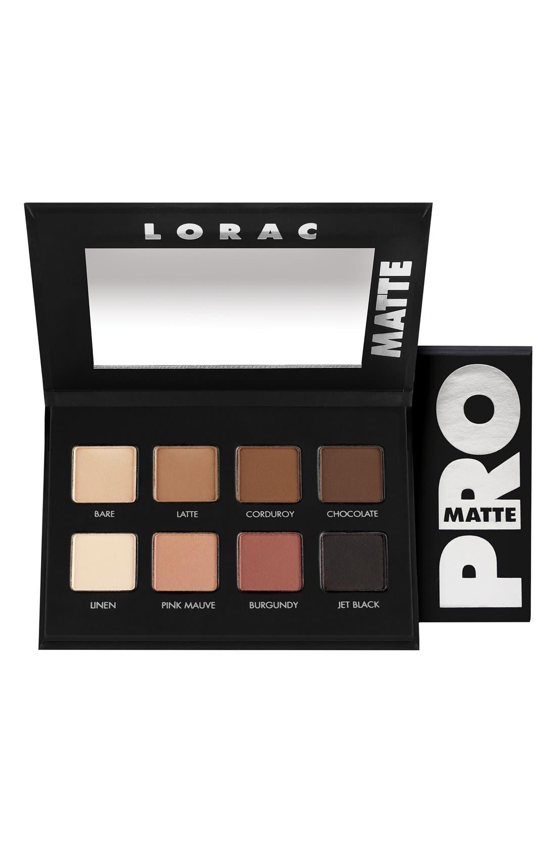 LORAC, 'PRO' Matte Eyeshadow Palette, Main thumbnail 1, color, 000