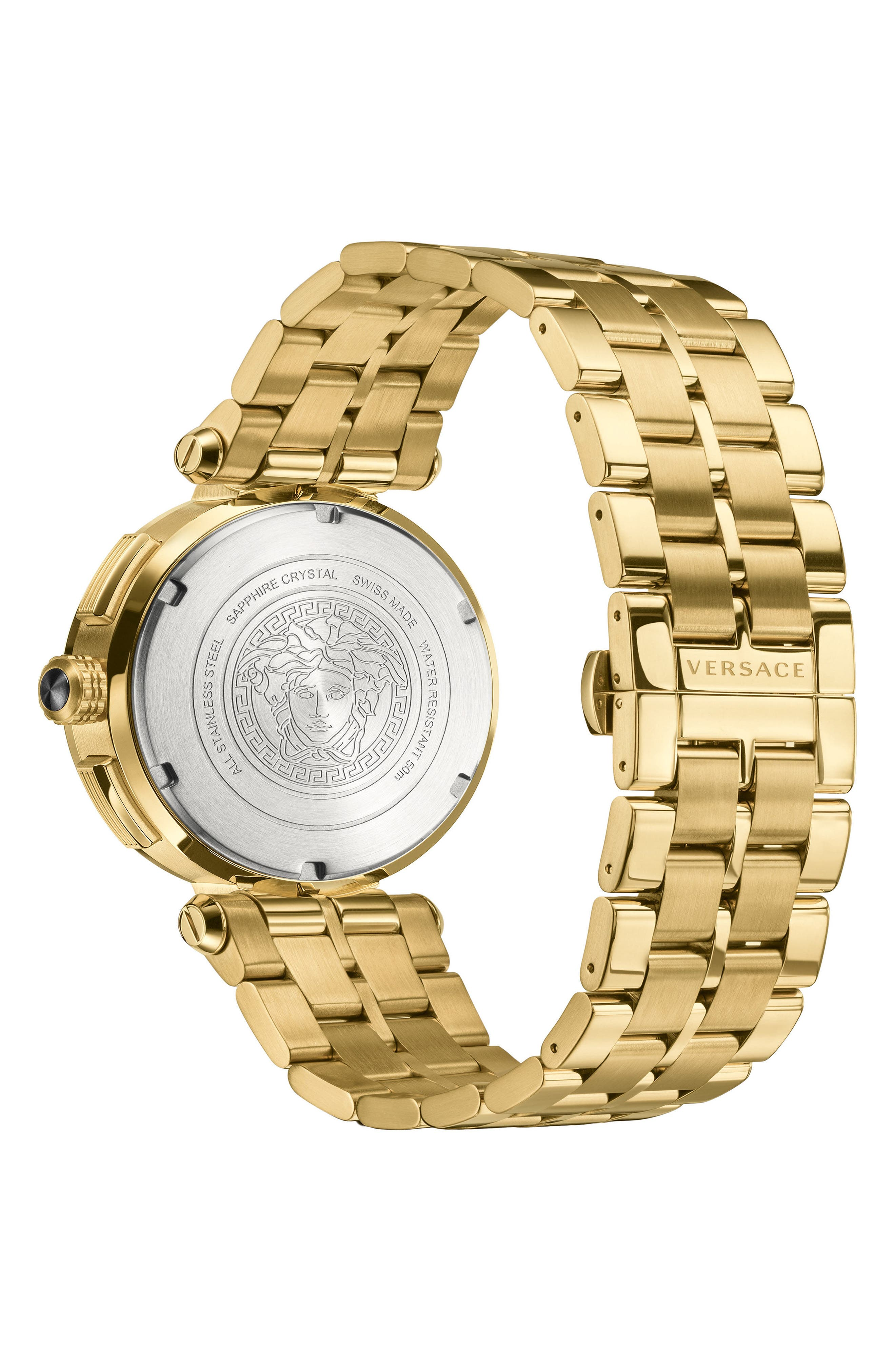 VERSACE, Aion Chronograph Bracelet Watch, 45mm, Alternate thumbnail 2, color, GOLD/ SILVER