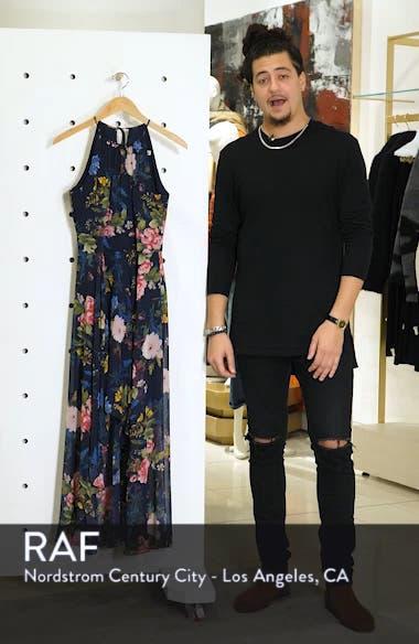 Floral Print Chiffon Halter Dress, sales video thumbnail