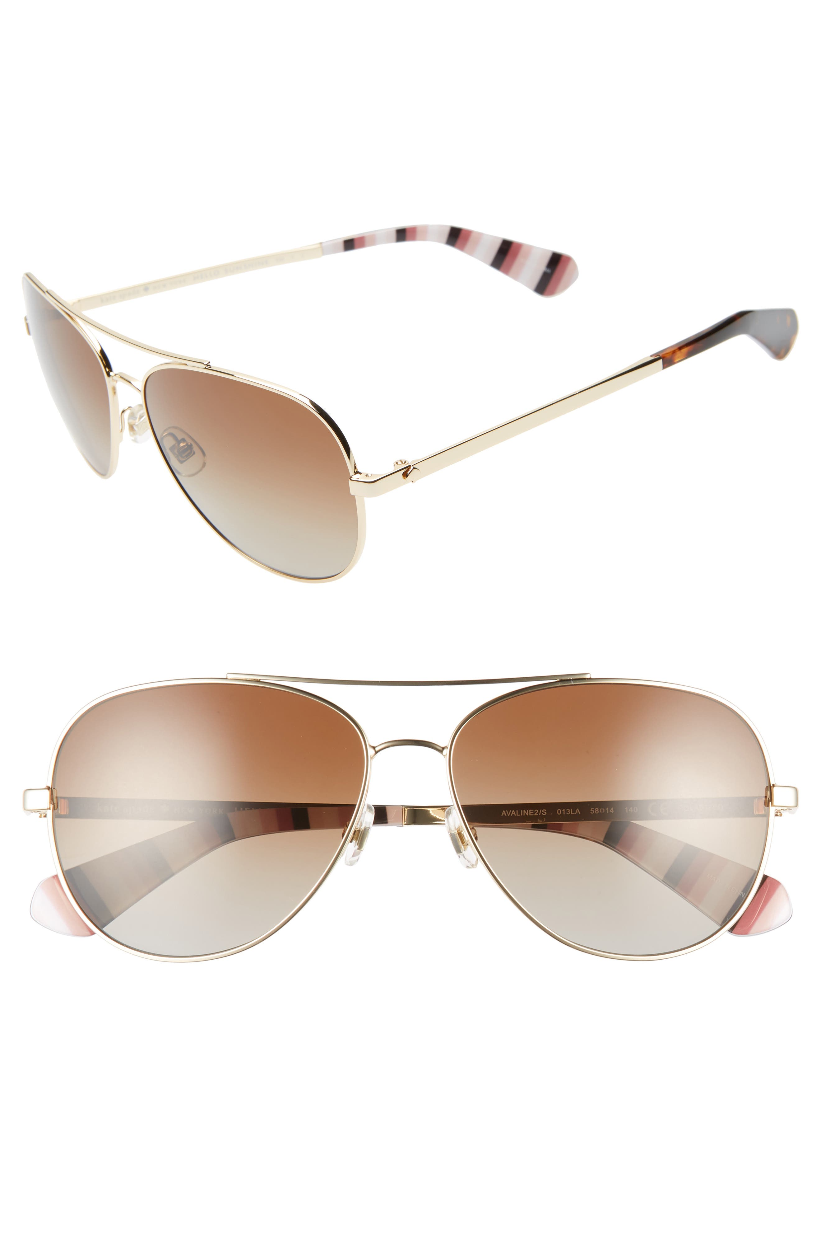 KATE SPADE NEW YORK avaline 2 58mm polarized aviator sunglasses, Main, color, GOLD