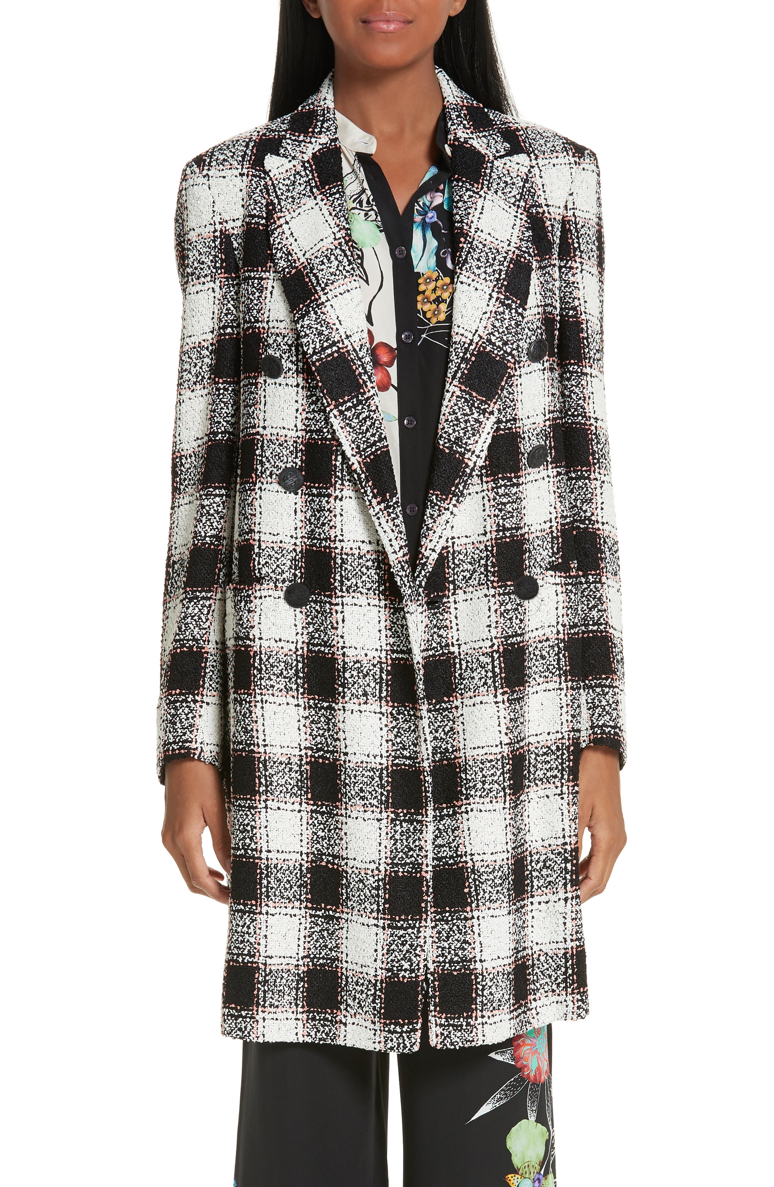 ETRO Double Breasted Checked Tweed Jacket, Main, color, WHITE