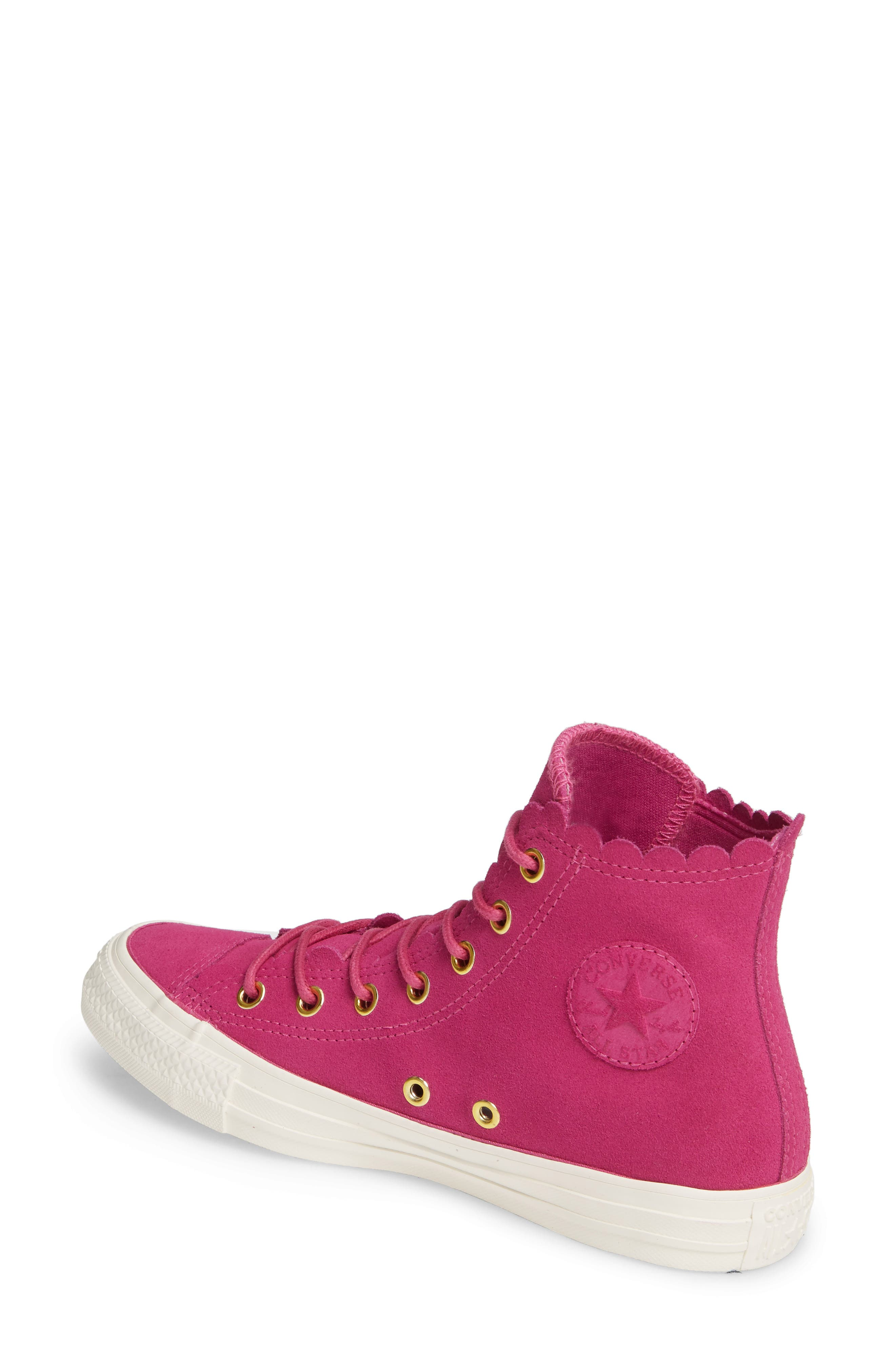 CONVERSE, Chuck Taylor<sup>®</sup> All Star<sup>®</sup> Scallop High Top Suede Sneaker, Alternate thumbnail 2, color, ACTIVE FUCHSIA/ GOLD/ EGRET