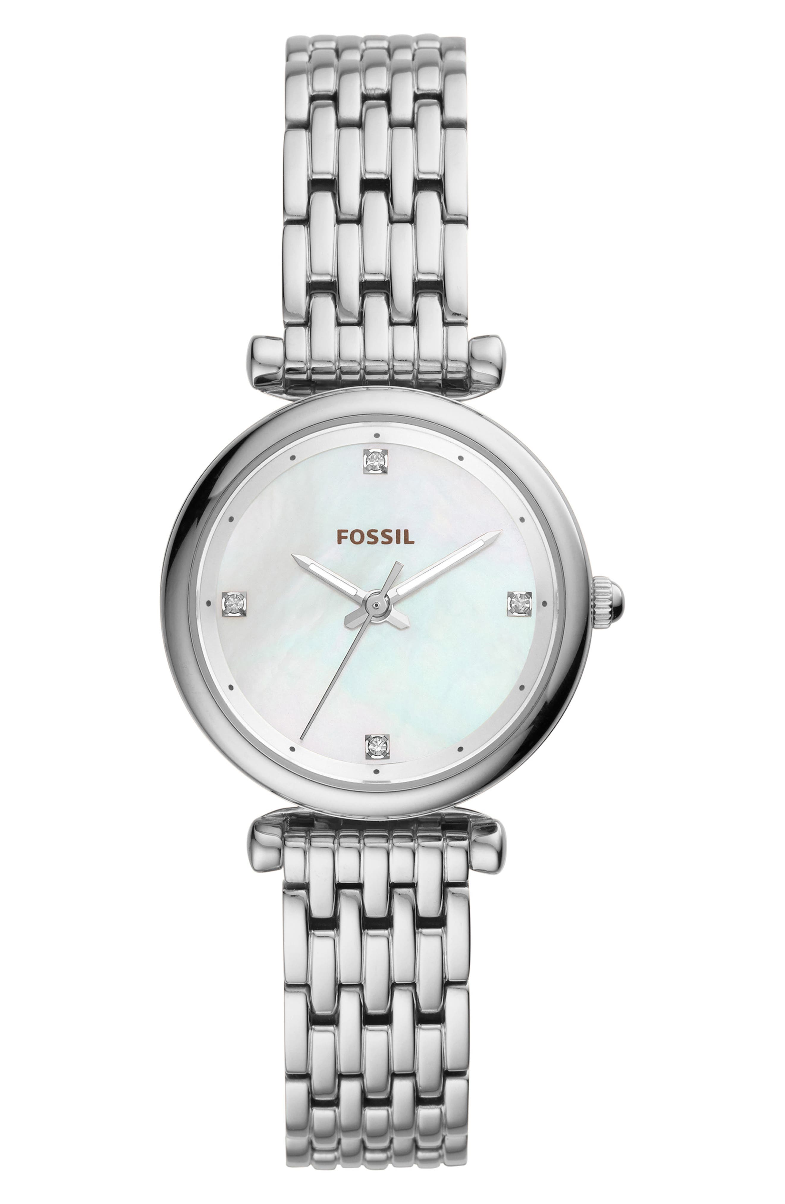 FOSSIL, Mini Carlie Bracelet Watch, 29mm, Main thumbnail 1, color, SILVER/MOTHER PEARL/SILVER