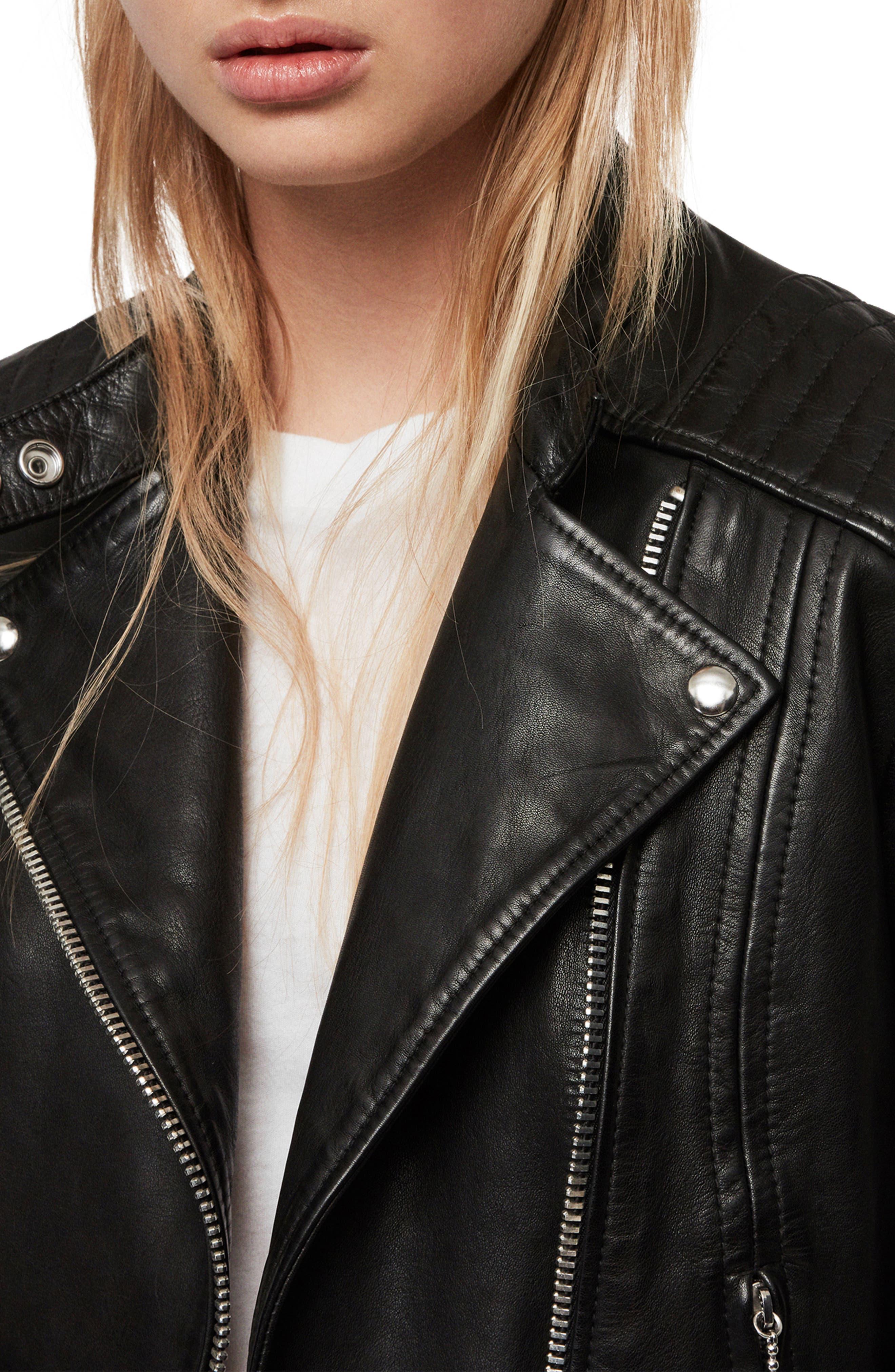 ALLSAINTS, Bircham Leather Biker Jacket, Alternate thumbnail 4, color, BLACK