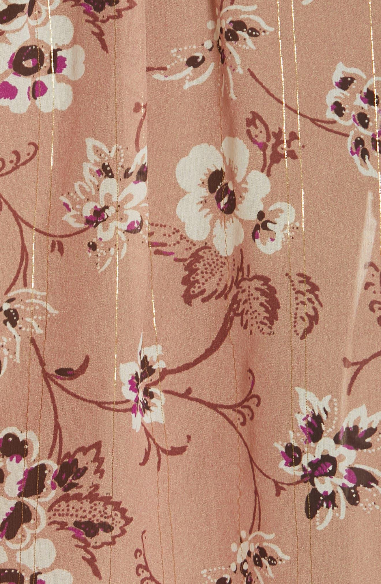 ULLA JOHNSON, Constance Floral Print Silk Blend Blouse, Alternate thumbnail 5, color, CAFE