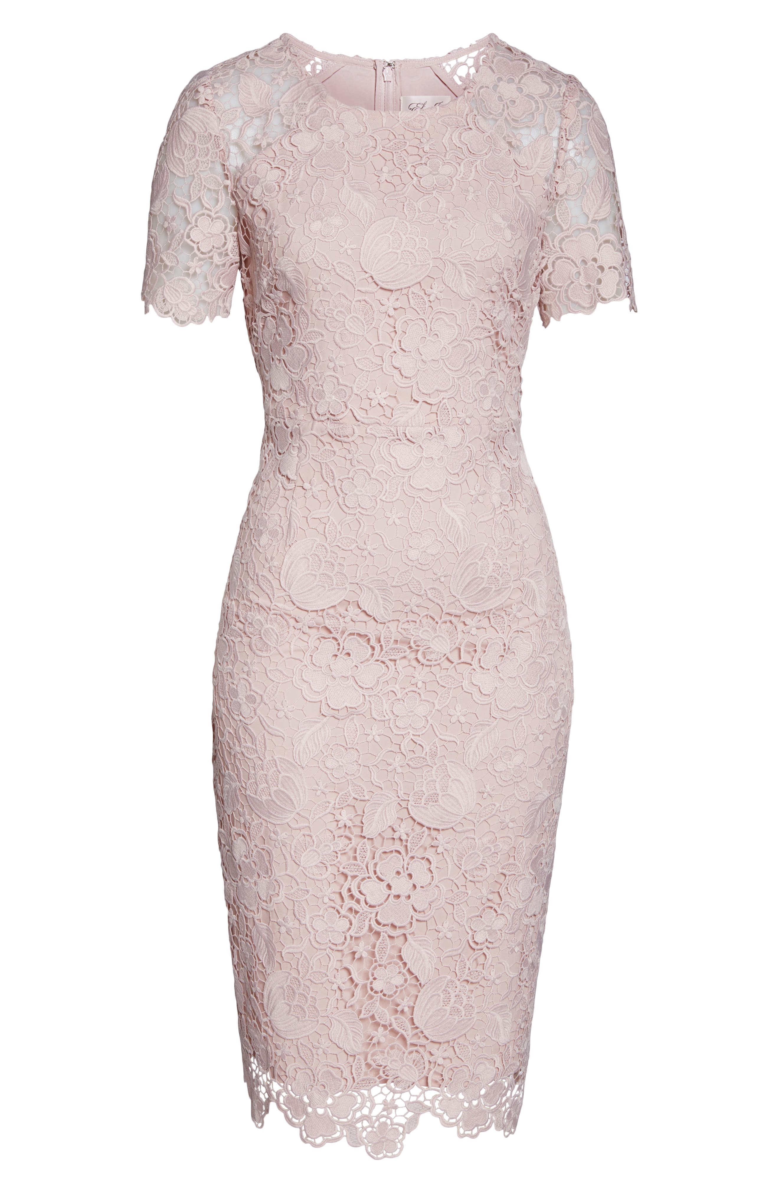 ELIZA J, Embroidered Lace Sheath Dress, Alternate thumbnail 7, color, NUDE