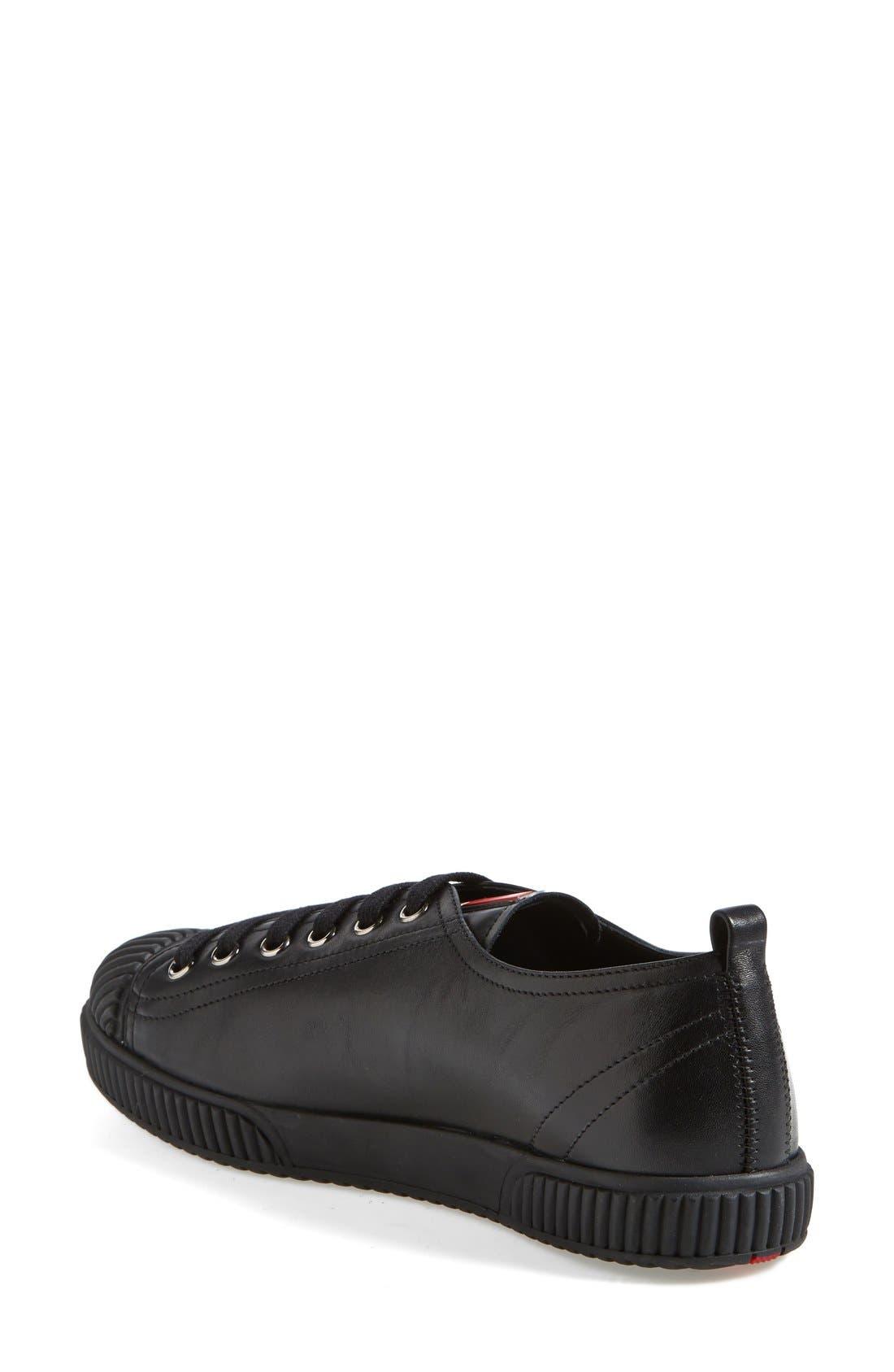 PRADA, Cap Toe Sneaker, Alternate thumbnail 2, color, 001