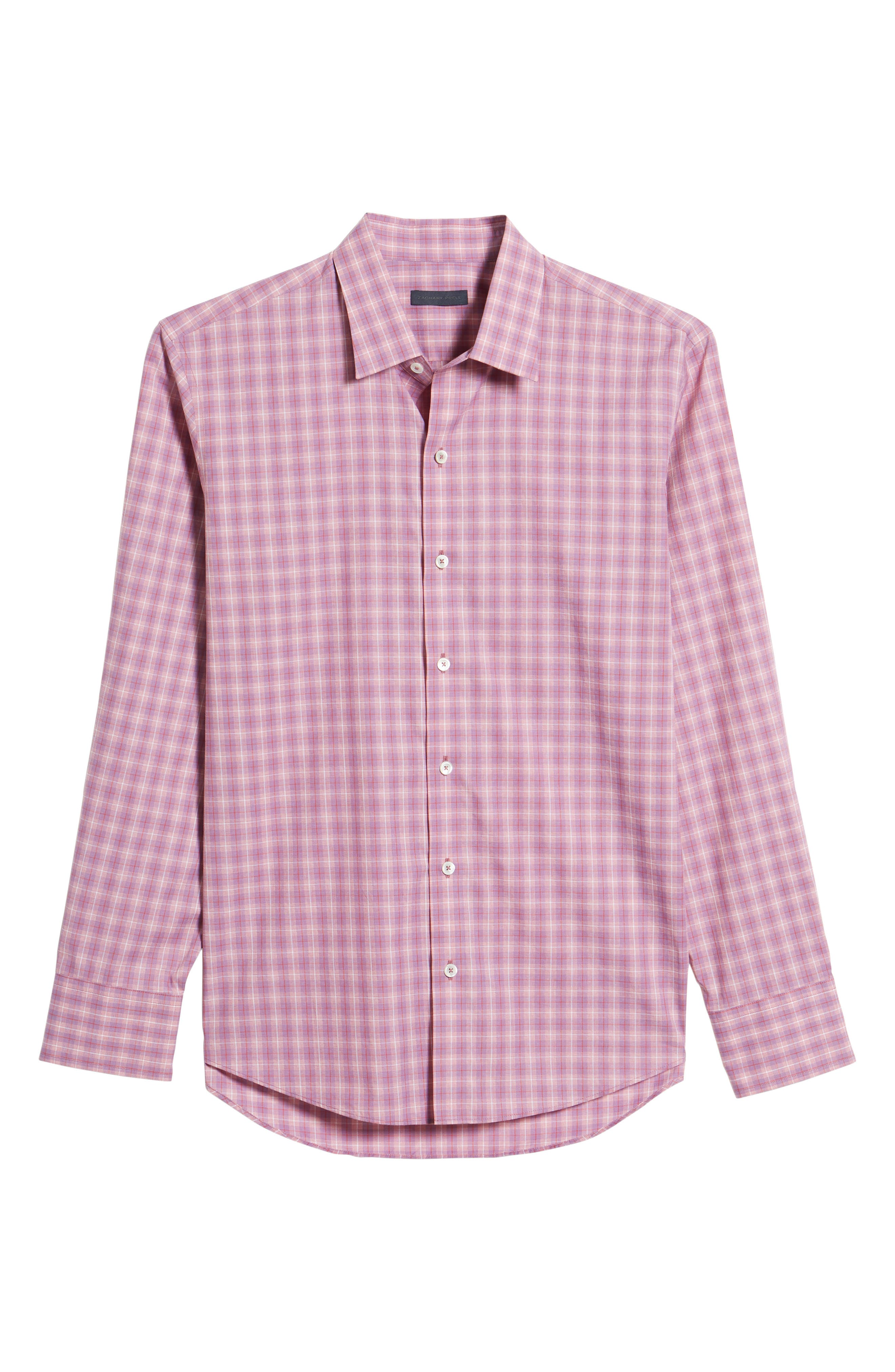 ZACHARY PRELL, Duran Regular Fit Sport Shirt, Alternate thumbnail 6, color, PINK