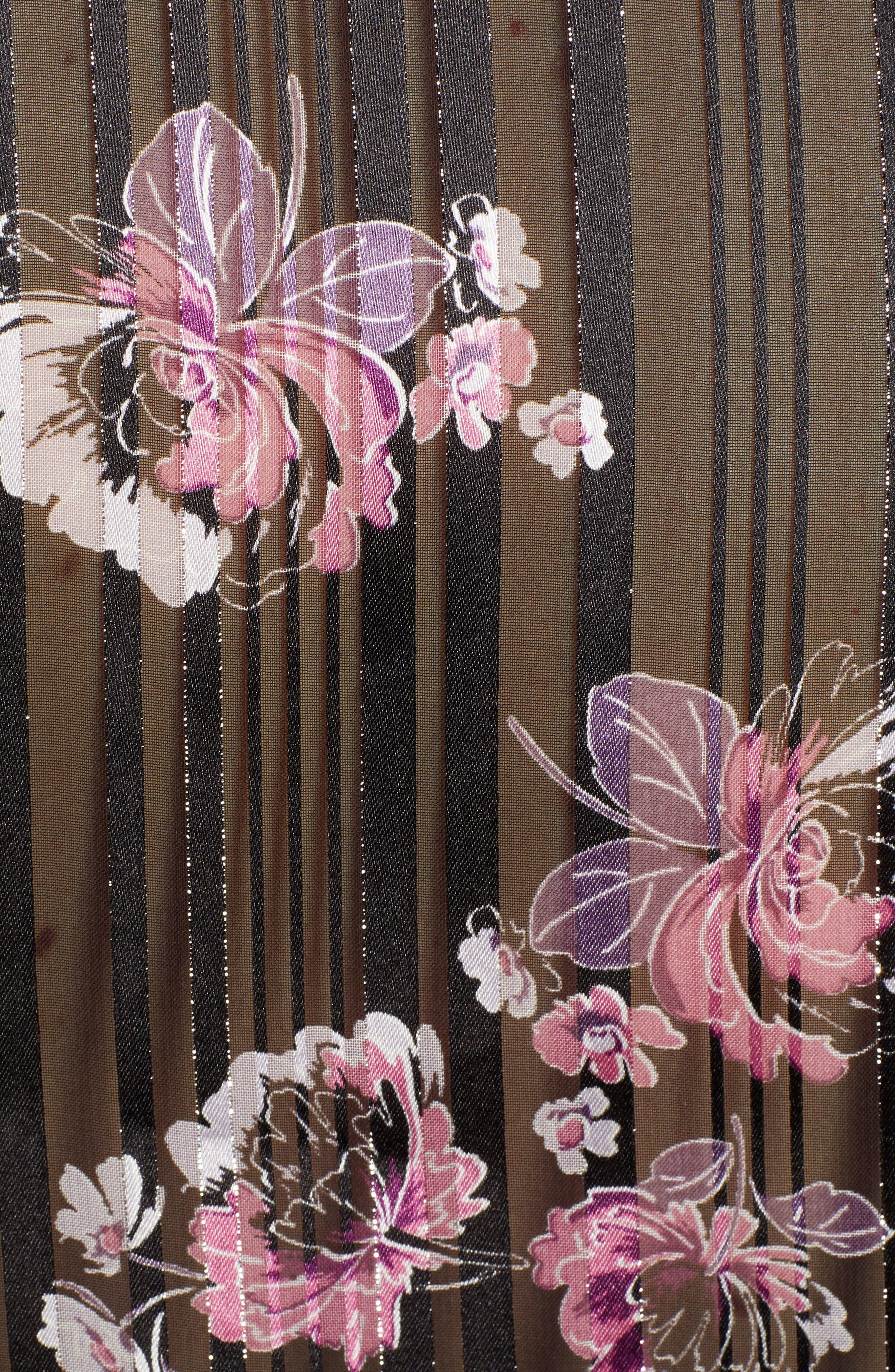 WAYF, Floral Print Peplum Top, Alternate thumbnail 5, color, BLACK FLORAL SHADOW STRIPE