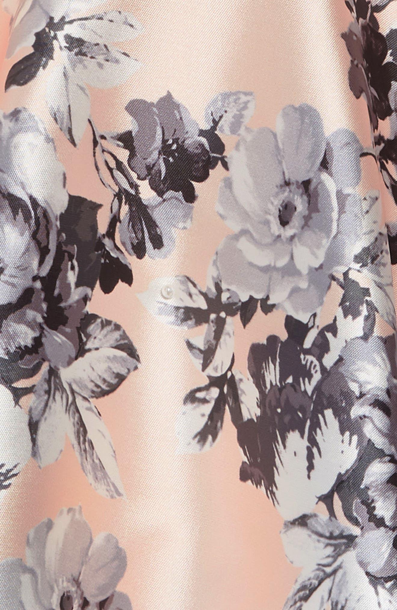 ZUNIE, Floral Fit & Flare Dress, Alternate thumbnail 3, color, PALE PINK