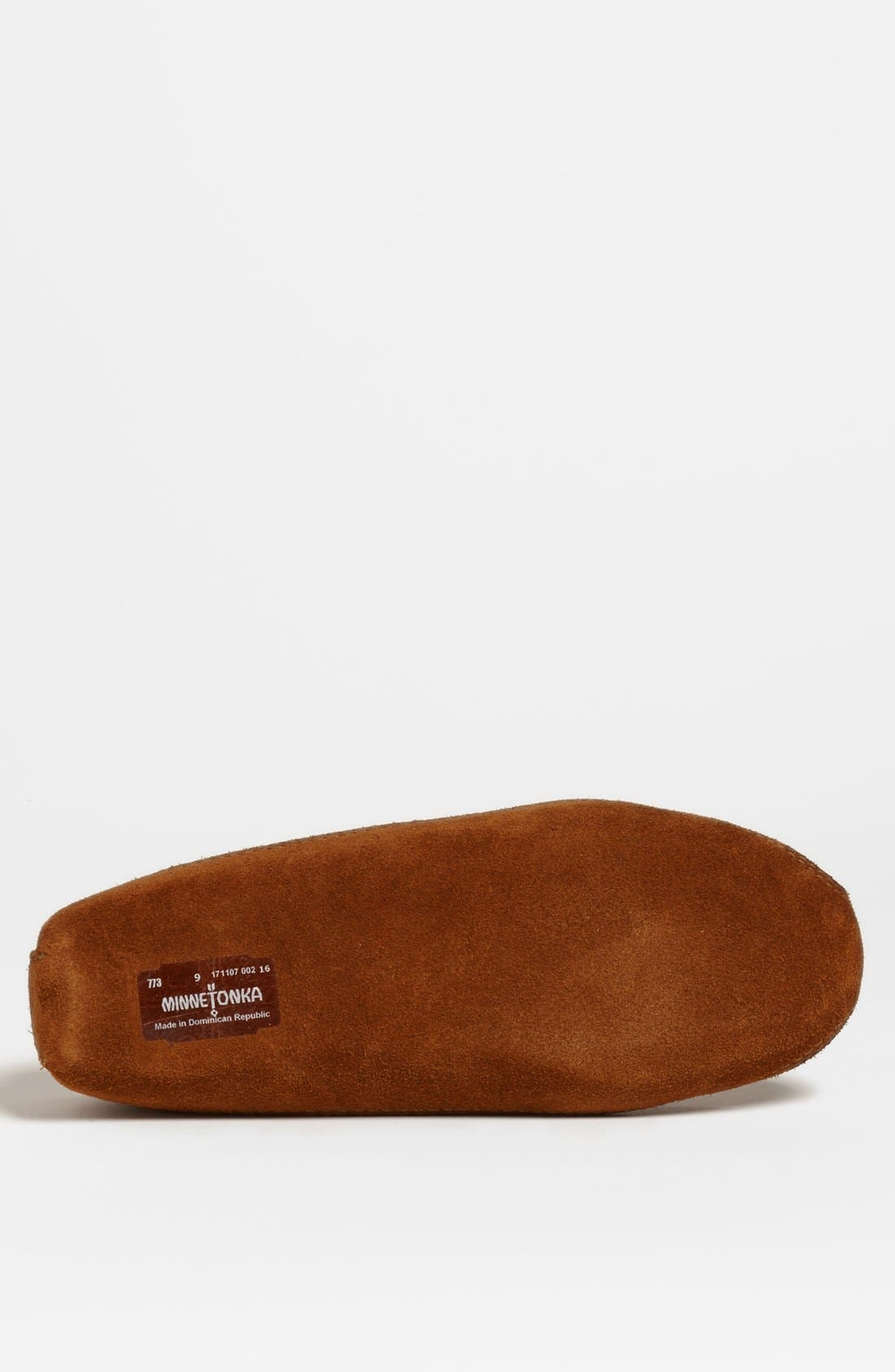 MINNETONKA, Suede Moccasin, Alternate thumbnail 4, color, BROWN SUEDE