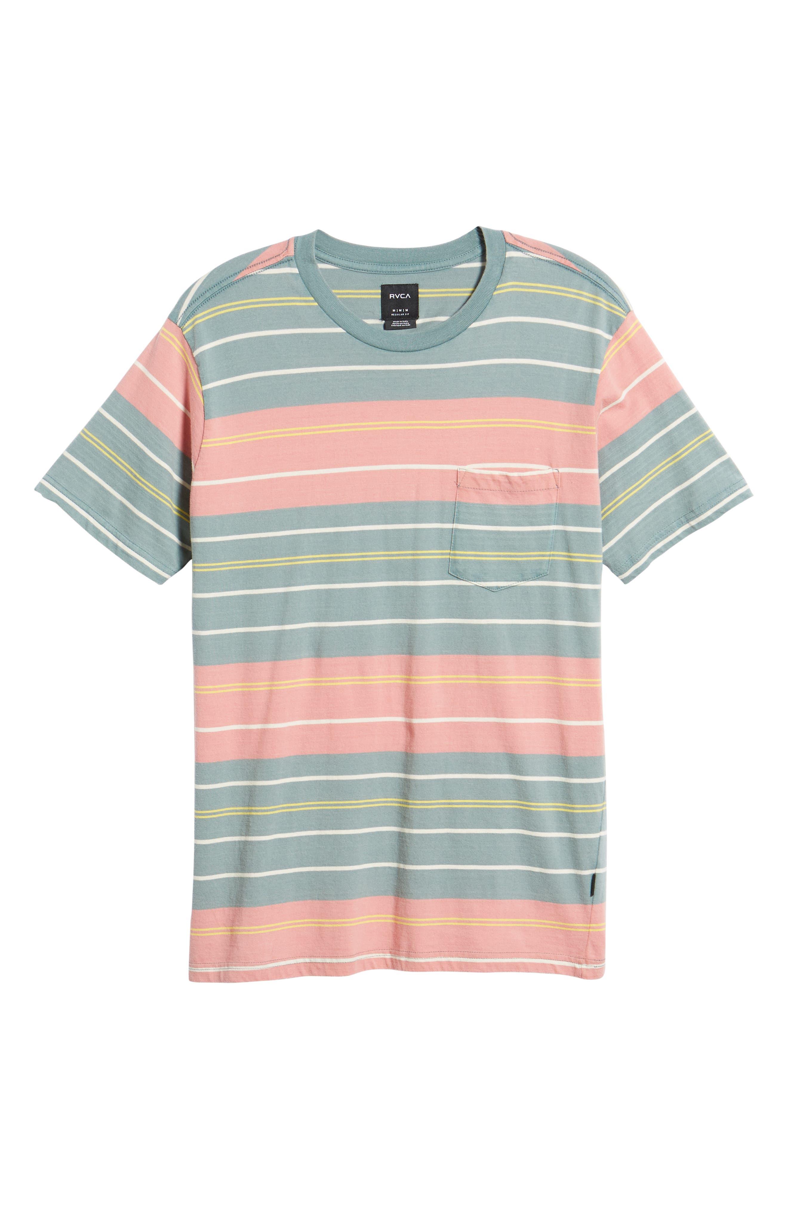 RVCA, Rusholme Stripe T-Shirt, Alternate thumbnail 6, color, PINE TREE