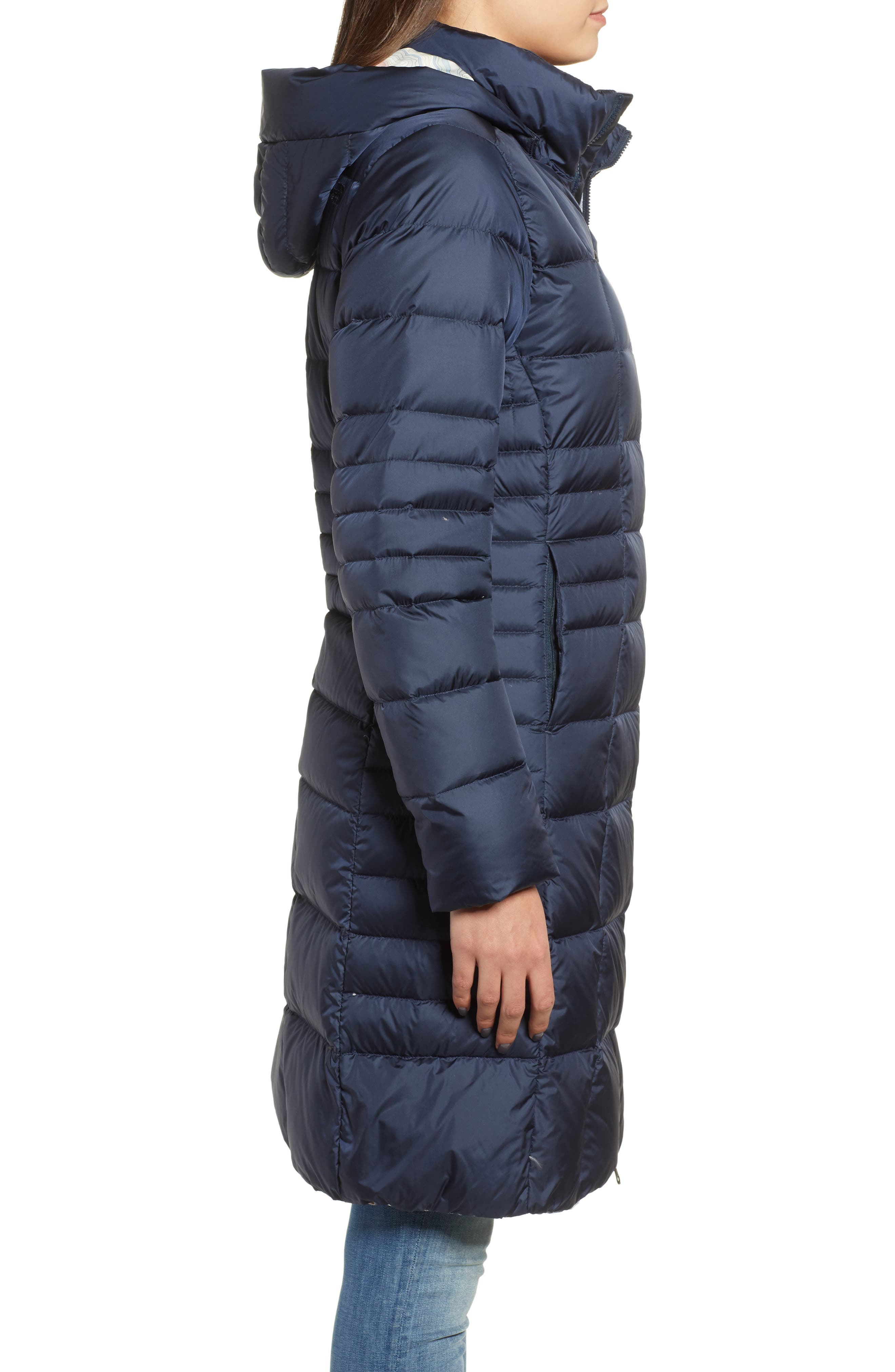 THE NORTH FACE, Metropolis II Hooded Water Resistant Down Parka, Alternate thumbnail 4, color, URBAN NAVY/ MULTI TOPO PRINT