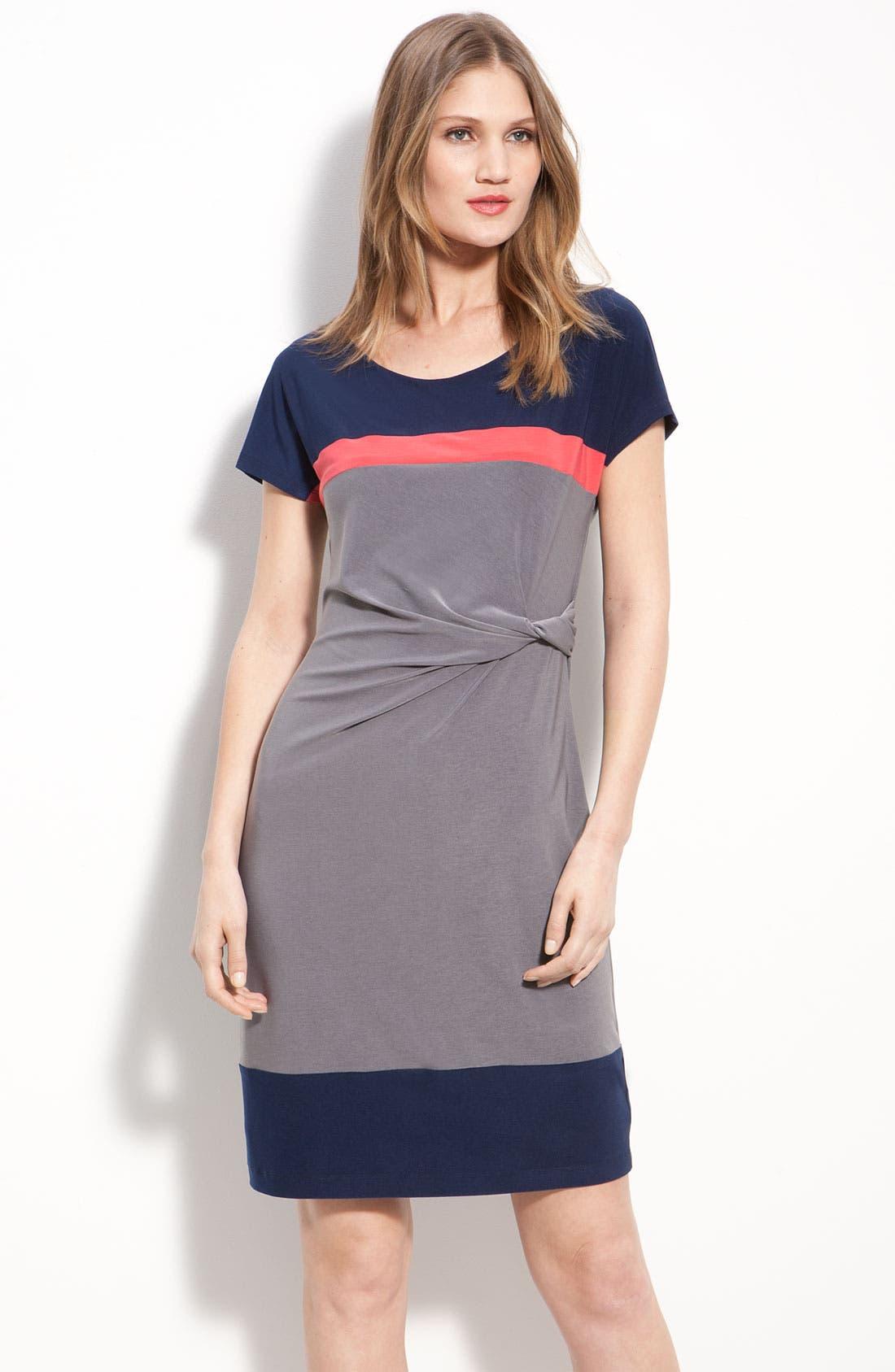 ALEX & AVA, Twist Front Colorblock Jersey Sheath Dress, Main thumbnail 1, color, 020