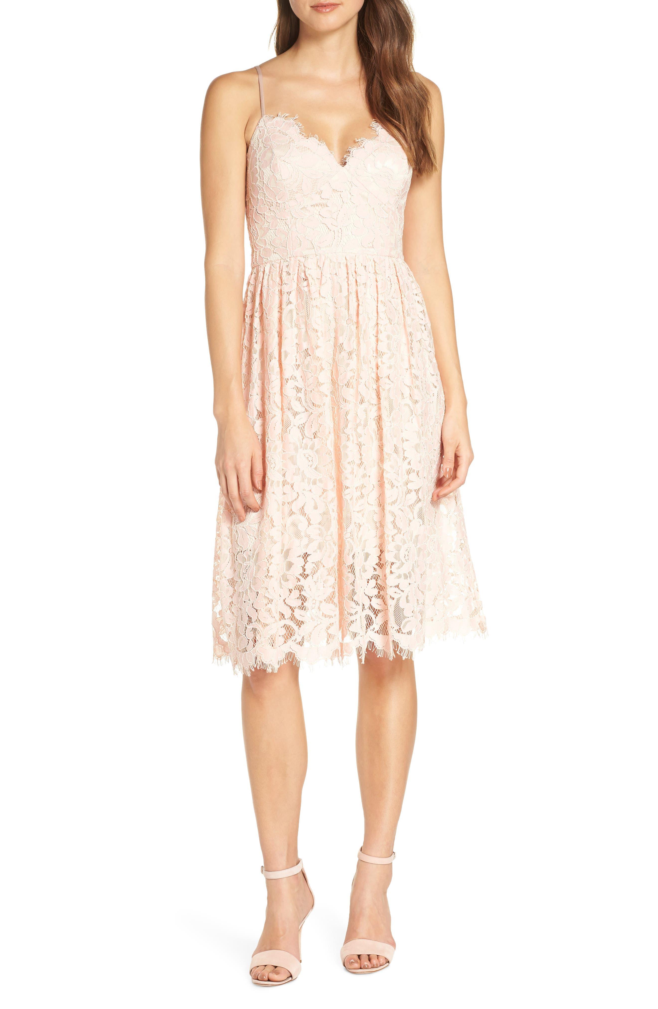 ELIZA J Lace Fit & Flare Dress, Main, color, BLUSH