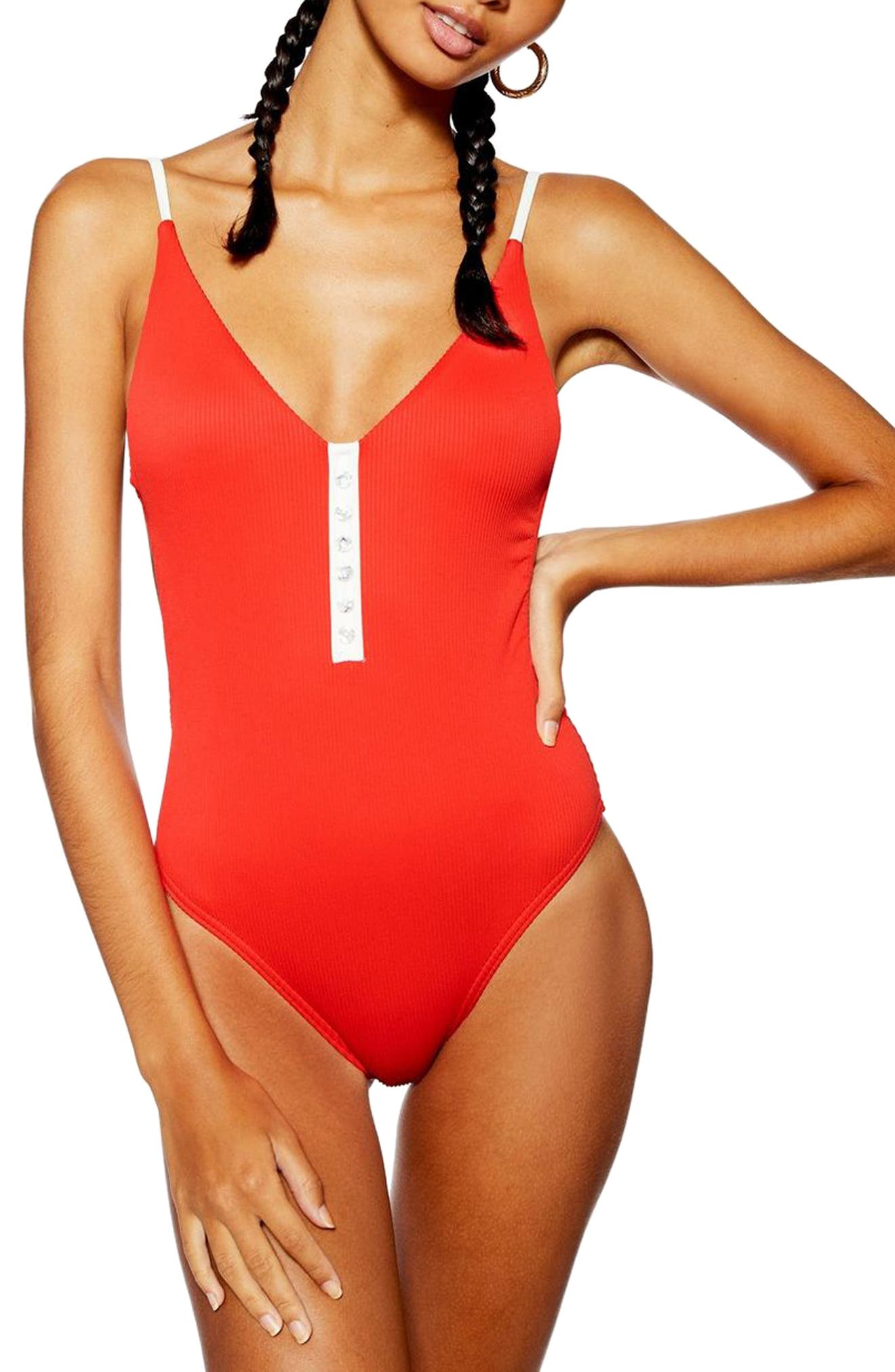TOPSHOP, Pamela Button Ribbed One-Piece Swimsuit, Main thumbnail 1, color, RED