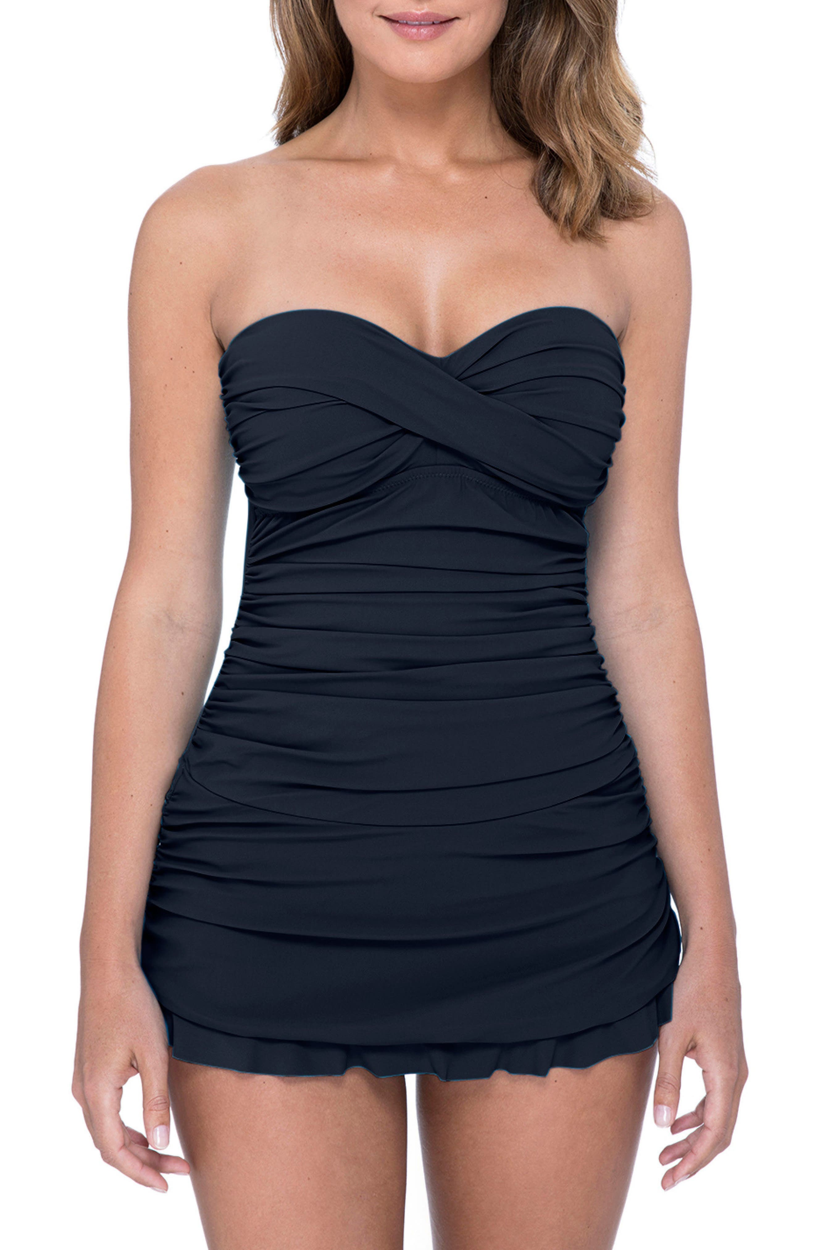 PROFILE BY GOTTEX Tutti Frutti Swim Dress, Main, color, BLACK