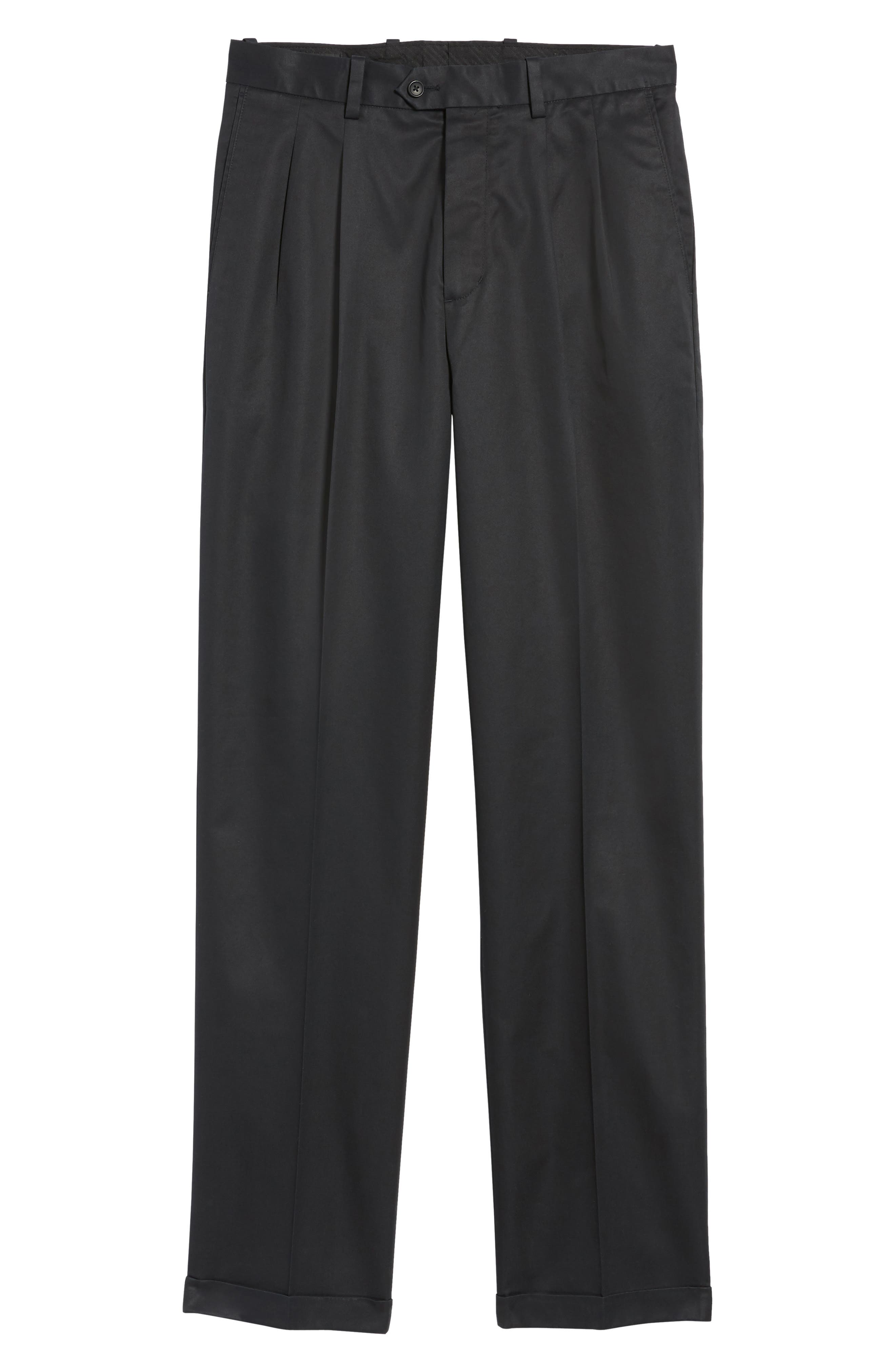 NORDSTROM MEN'S SHOP, Classic Smartcare<sup>™</sup> Supima<sup>®</sup> Cotton Pleated Trousers, Main thumbnail 1, color, BLACK CAVIAR