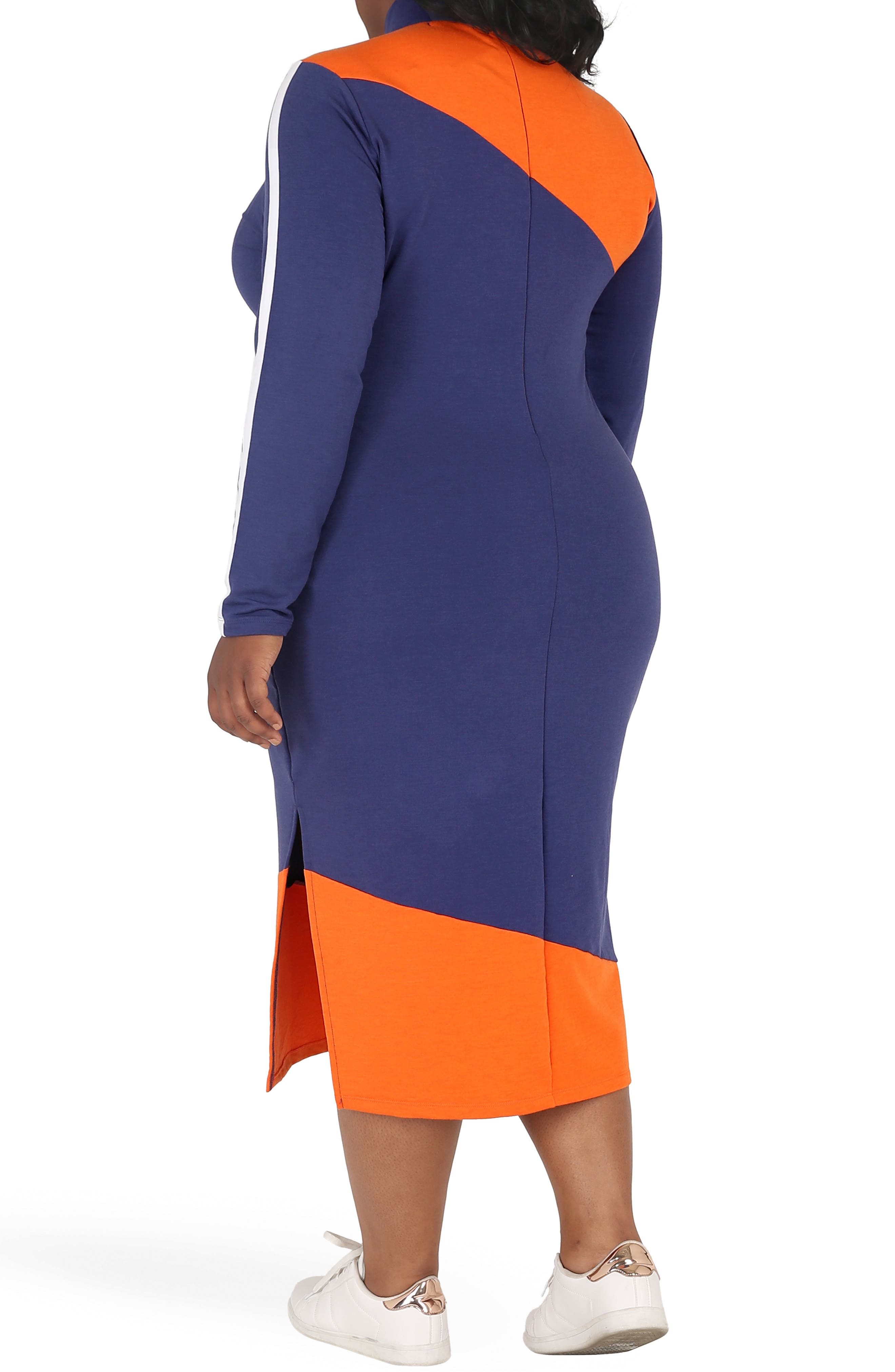 POETIC JUSTICE, Wanda Colorblock Midi Dress, Alternate thumbnail 2, color, NAVY