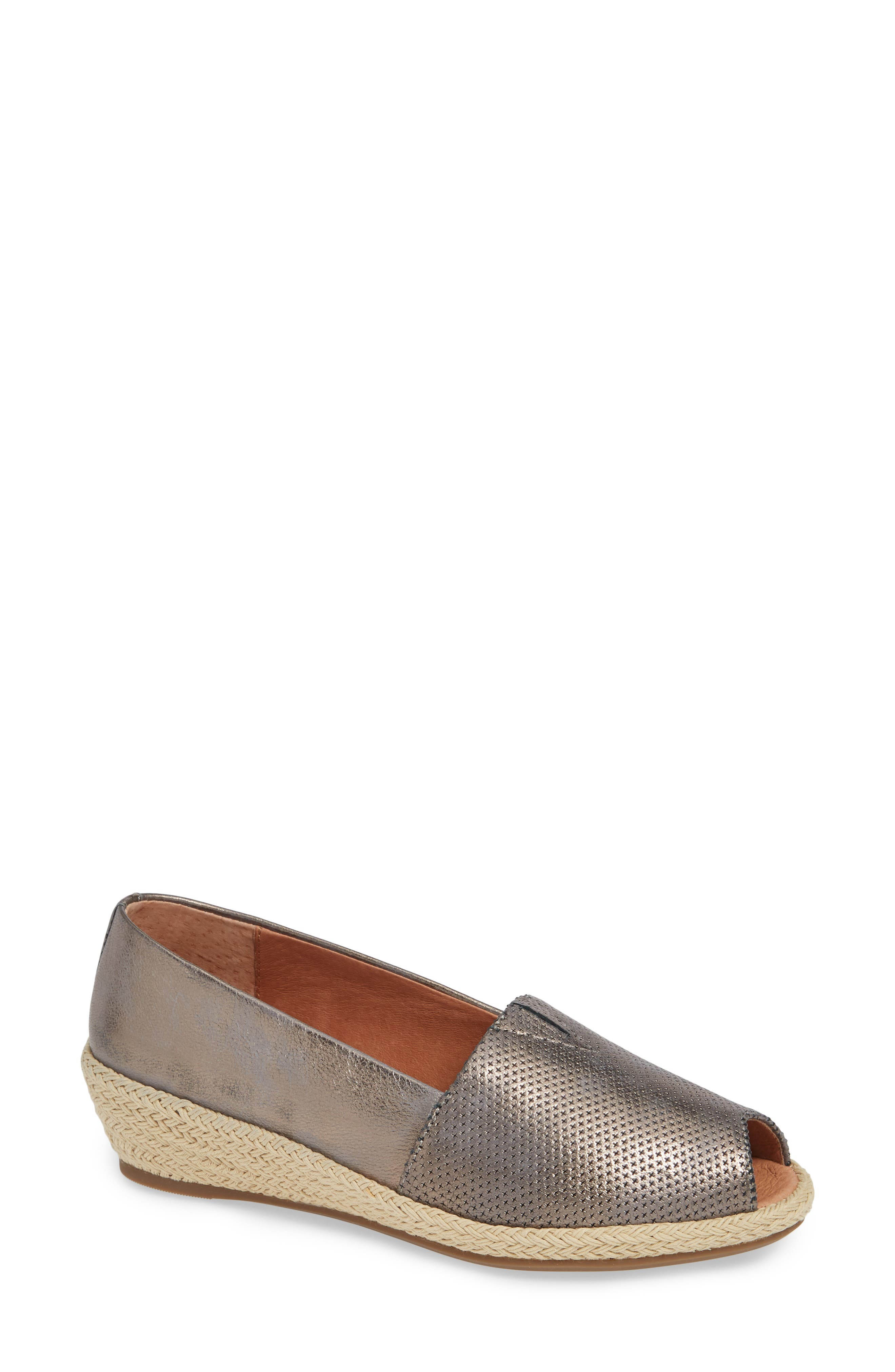 GENTLE SOULS BY KENNETH COLE, Luca Open Toe Wedge Espadrille, Main thumbnail 1, color, PEWTER METALLIC LEATHER