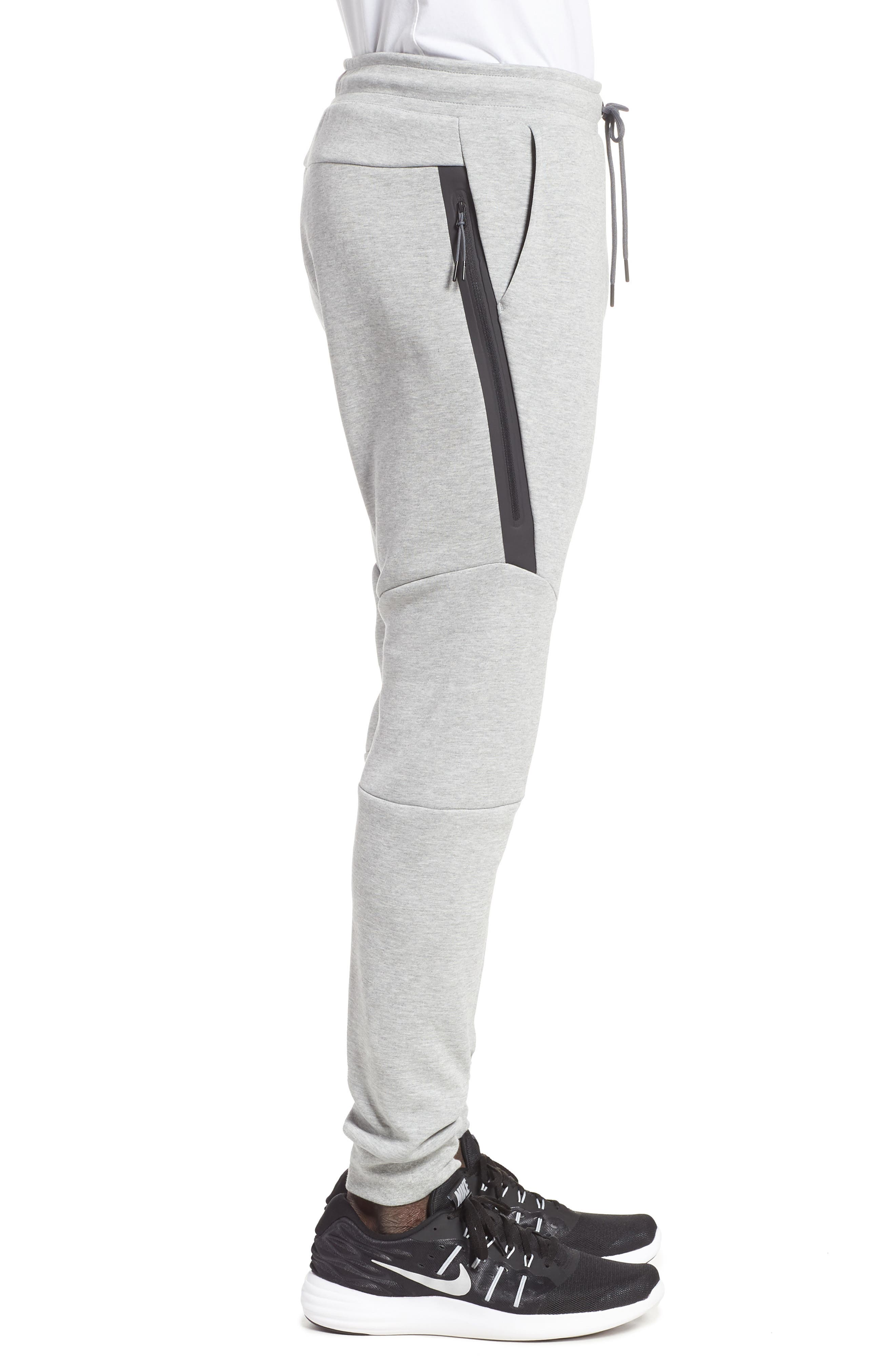 NIKE, Tech Fleece Jogger Pants, Alternate thumbnail 4, color, DARK GREY HEATHER/ BLACK