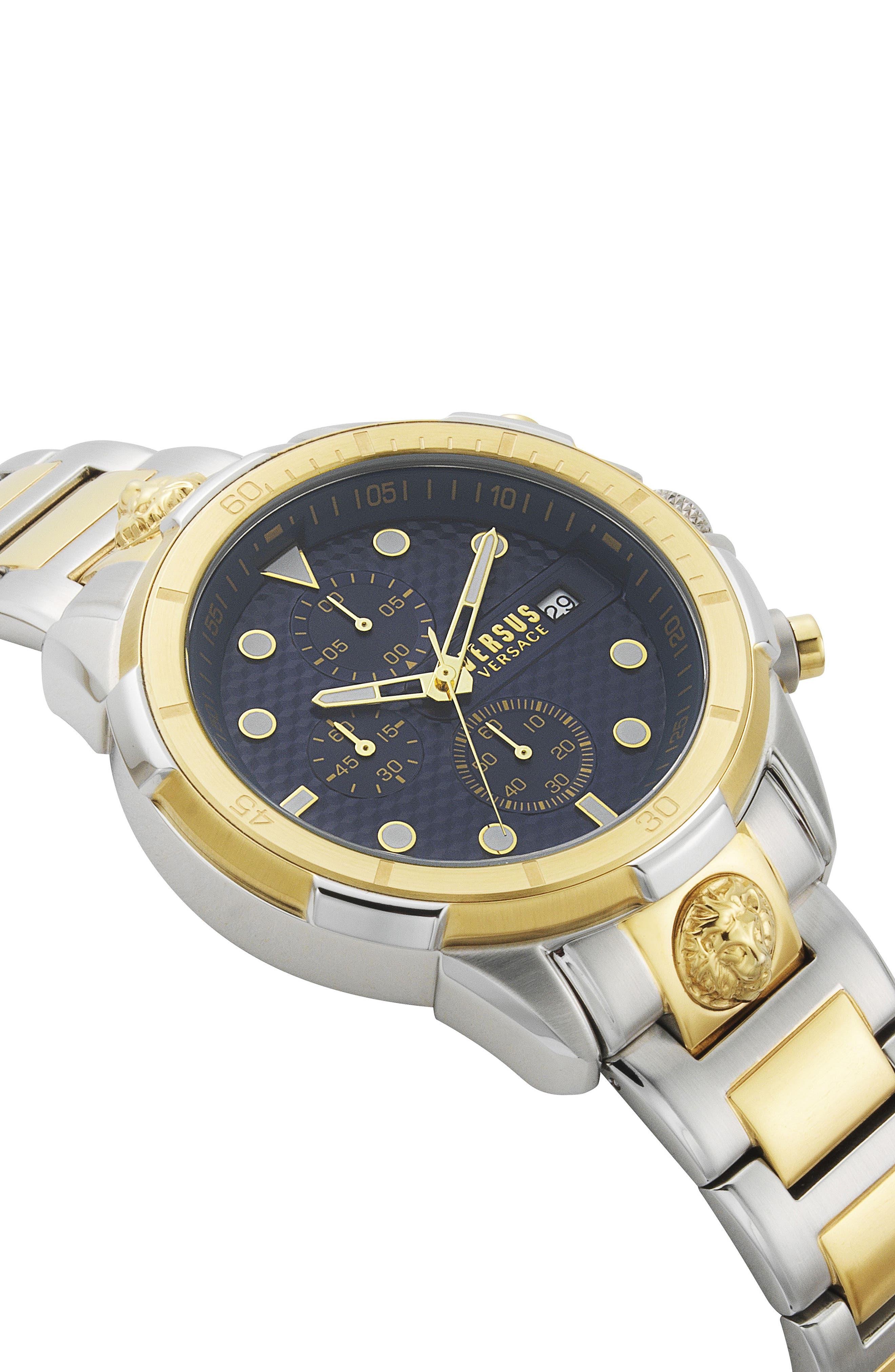 VERSUS VERSACE, Arrondissement Chronograph Bracelet Watch, 46mm, Alternate thumbnail 3, color, SILVER/ BLUE/ GOLD