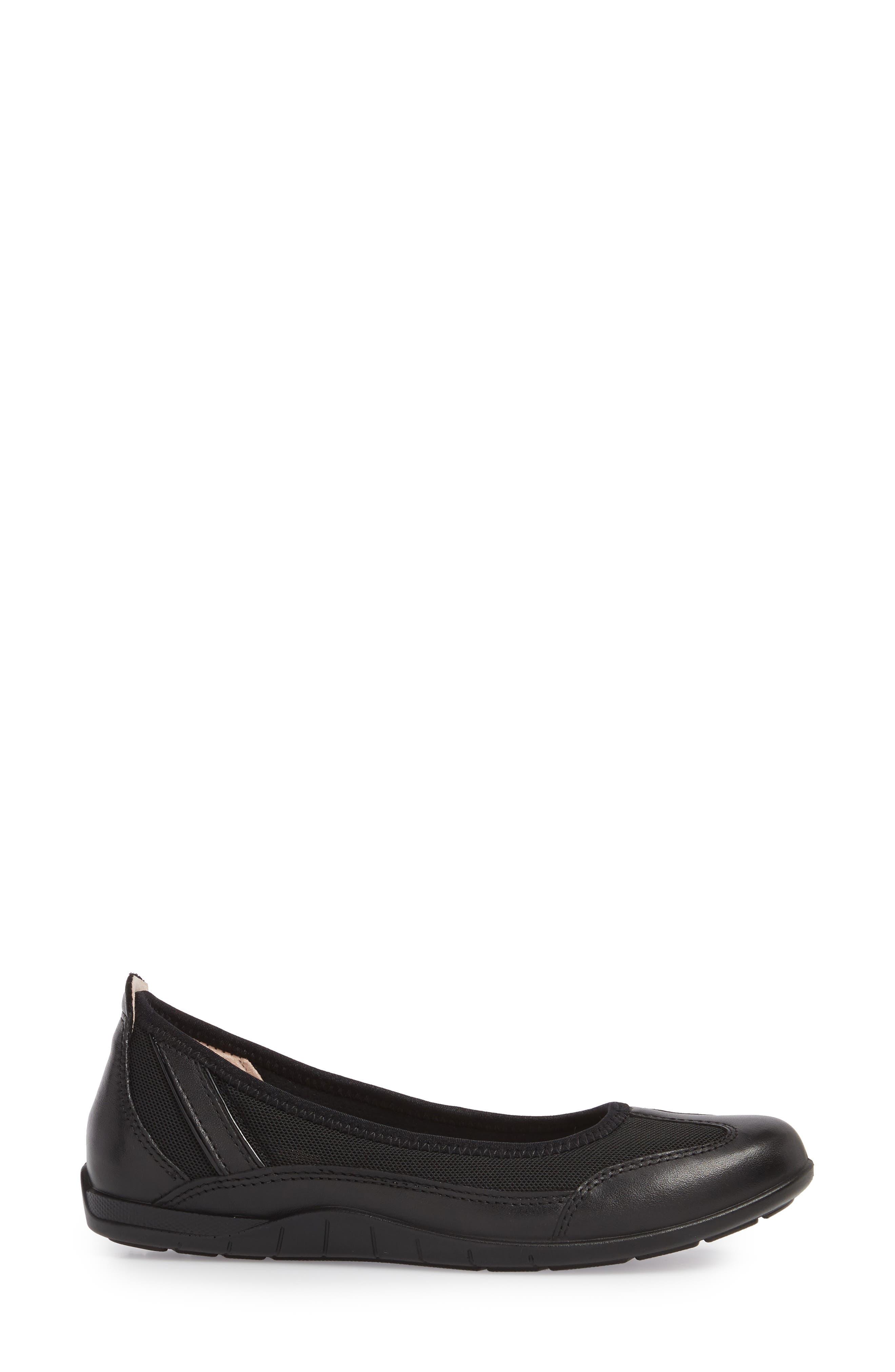ECCO, 'Bluma' Ballet Sneaker, Alternate thumbnail 3, color, BLACK LEATHER