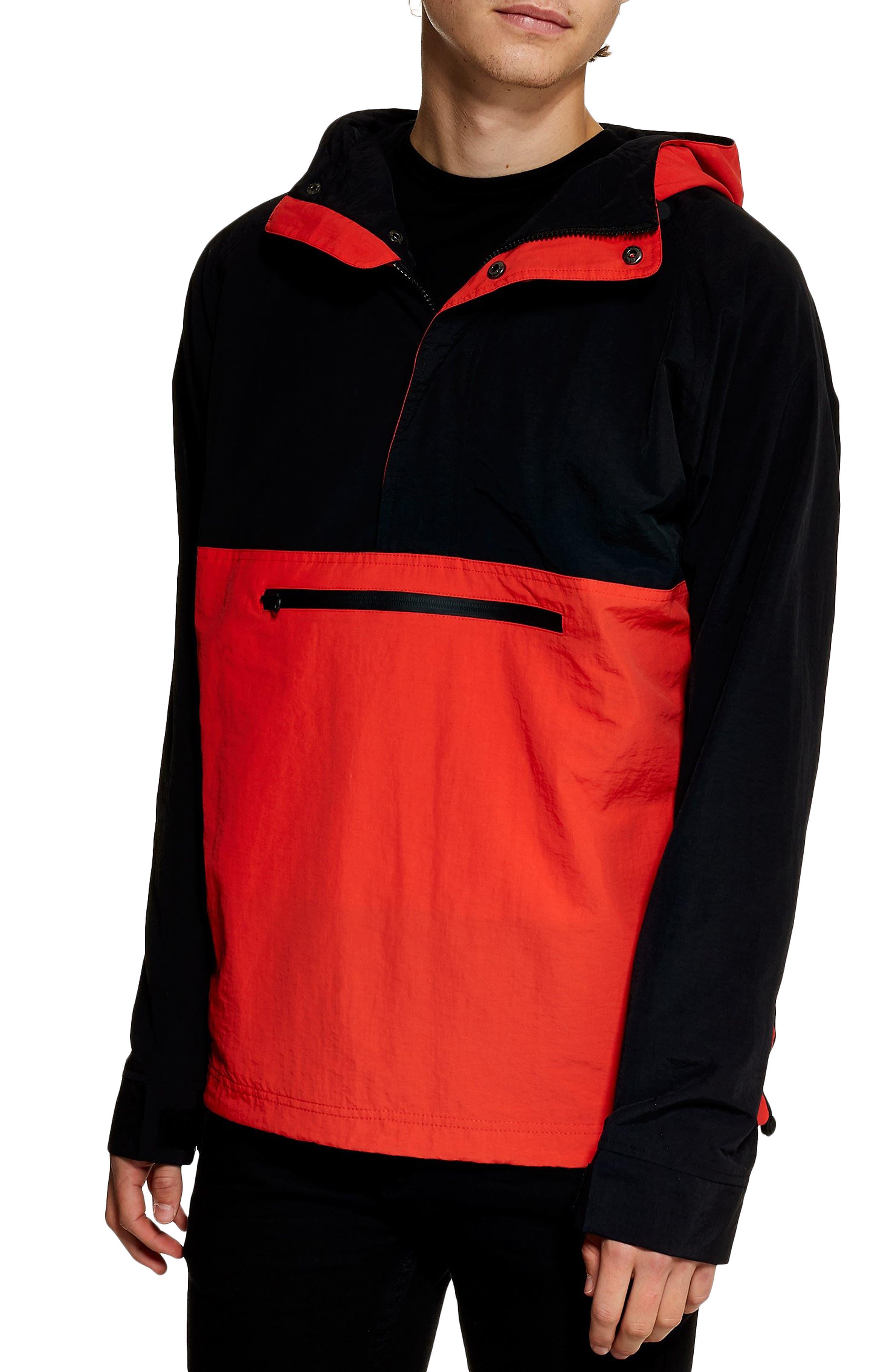 TOPMAN, Hooded Quarter Zip Windbreaker, Main thumbnail 1, color, RED MULTI