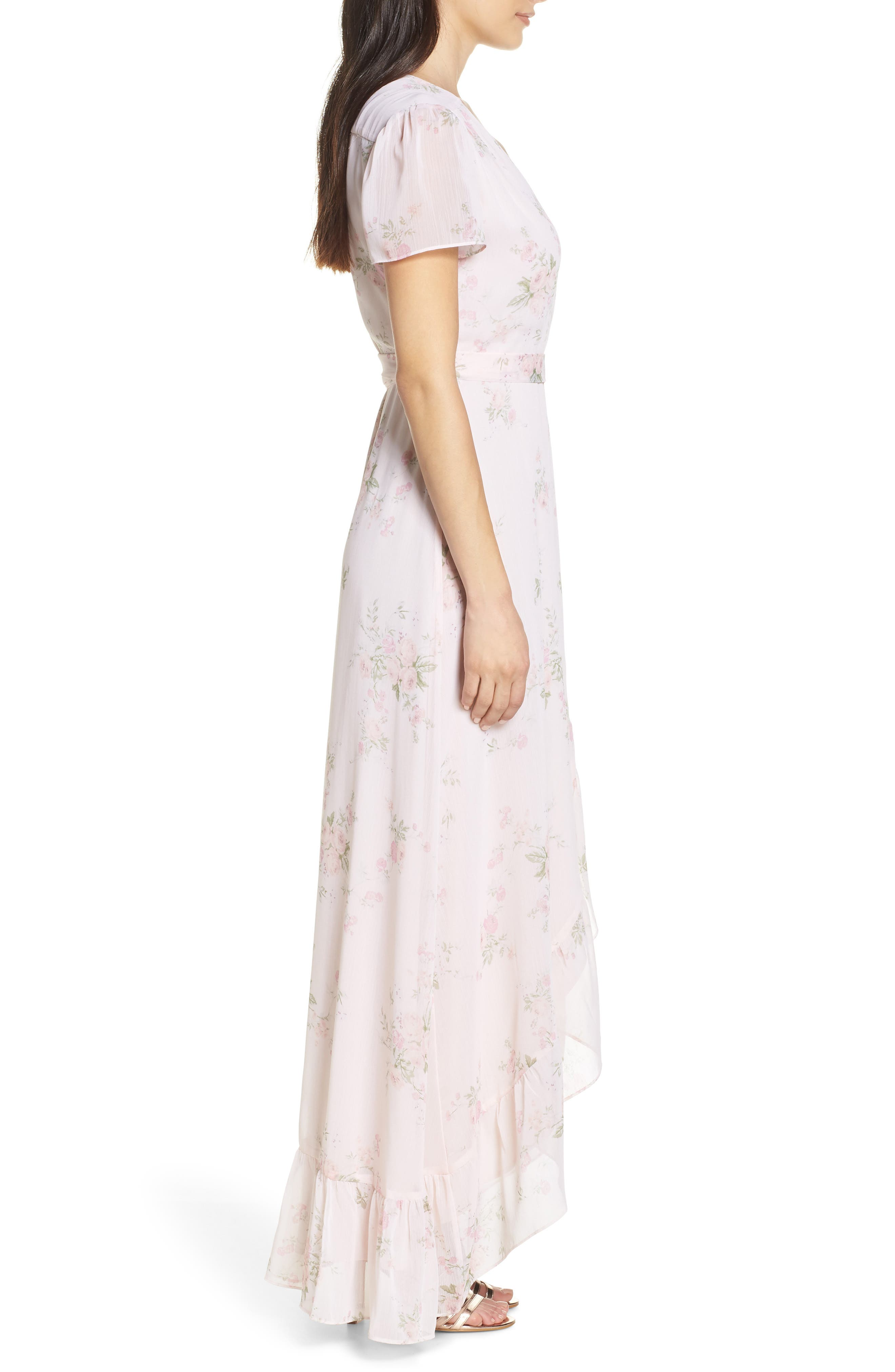 WAYF, The Natasha Floral Wrap Maxi Dress, Alternate thumbnail 4, color, 250