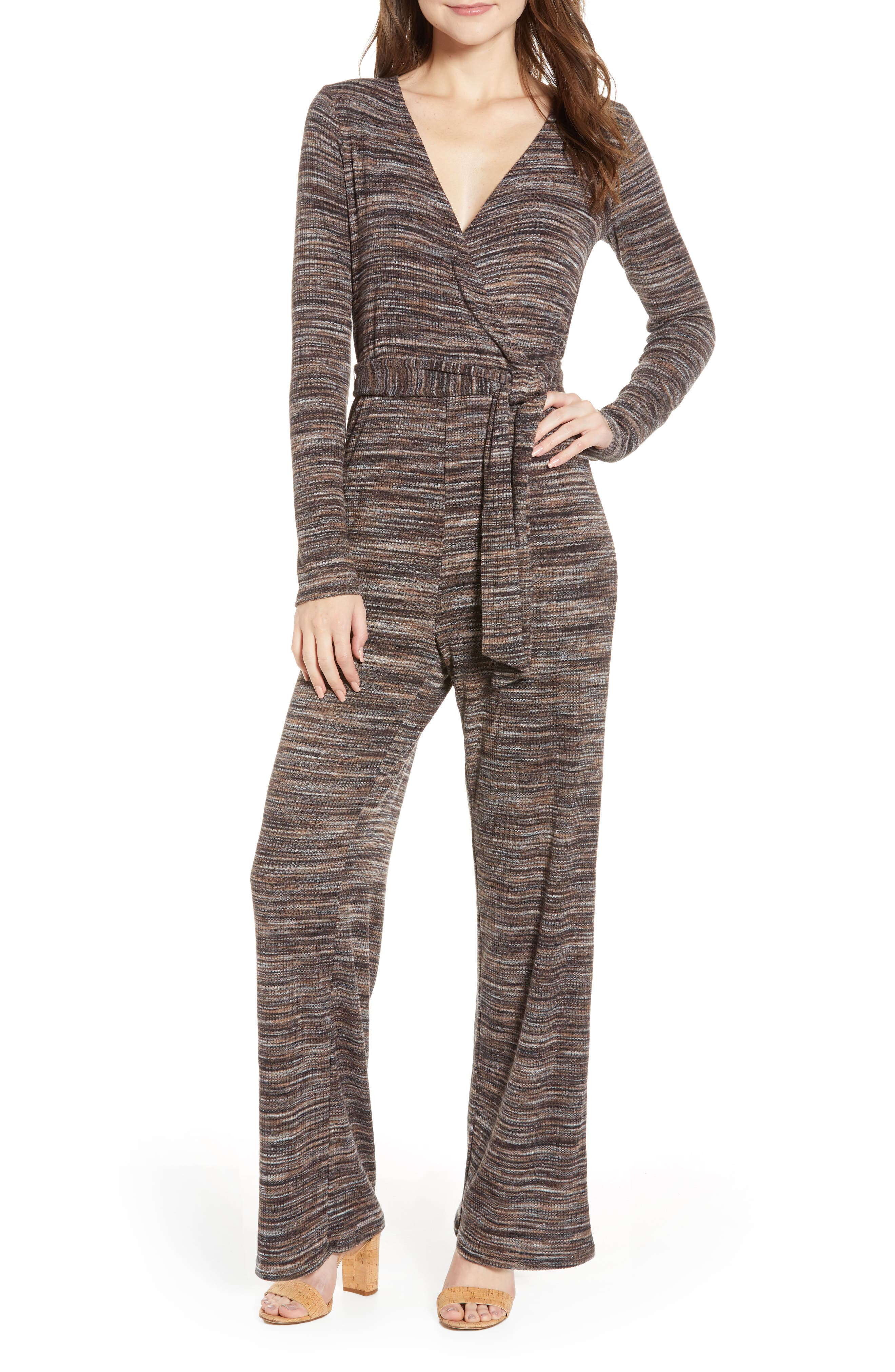 LOVE, FIRE, Belted Stripe Jumpsuit, Main thumbnail 1, color, 250