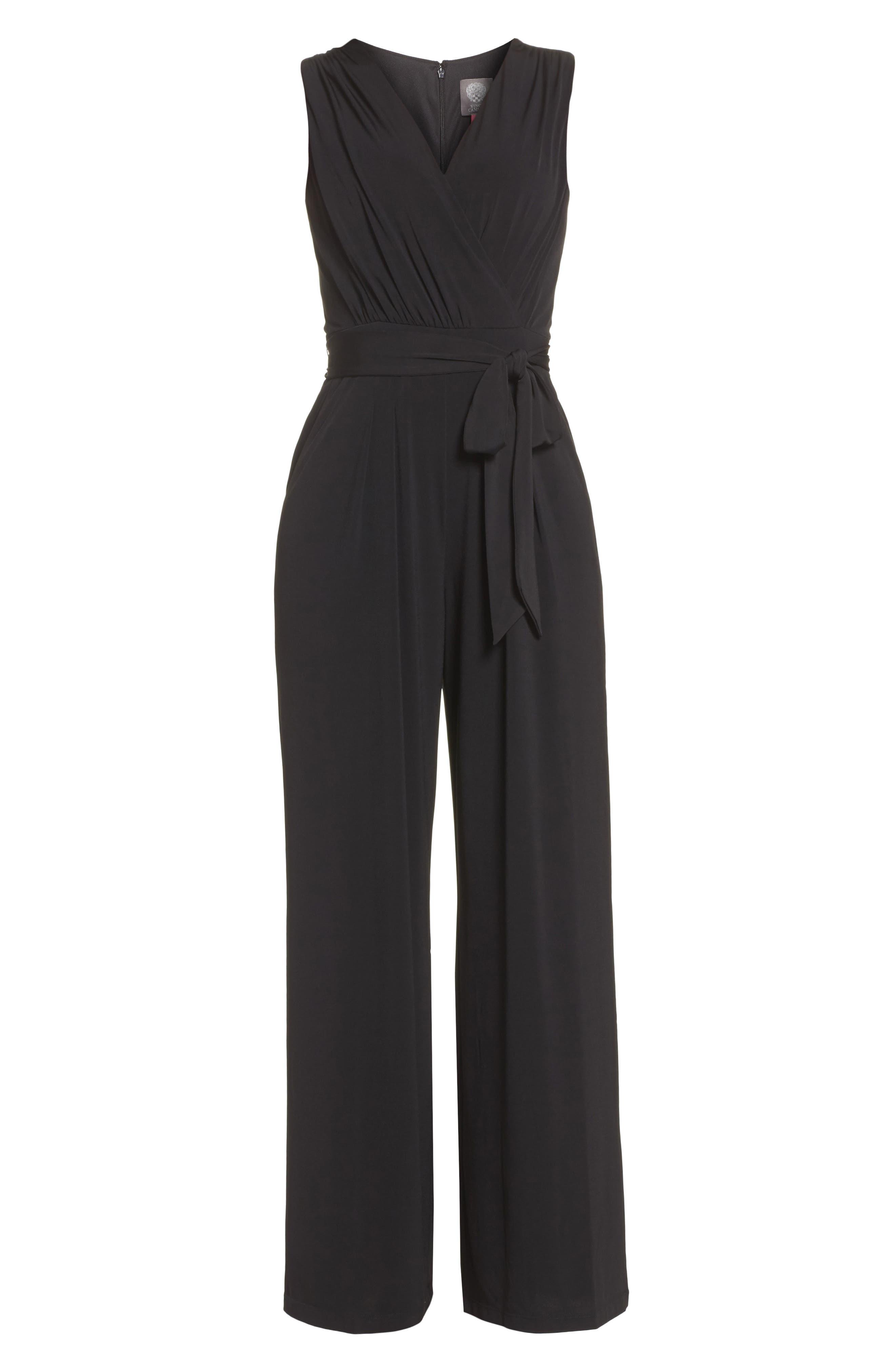 VINCE CAMUTO, Faux Wrap Jersey Jumpsuit, Alternate thumbnail 7, color, BLACK