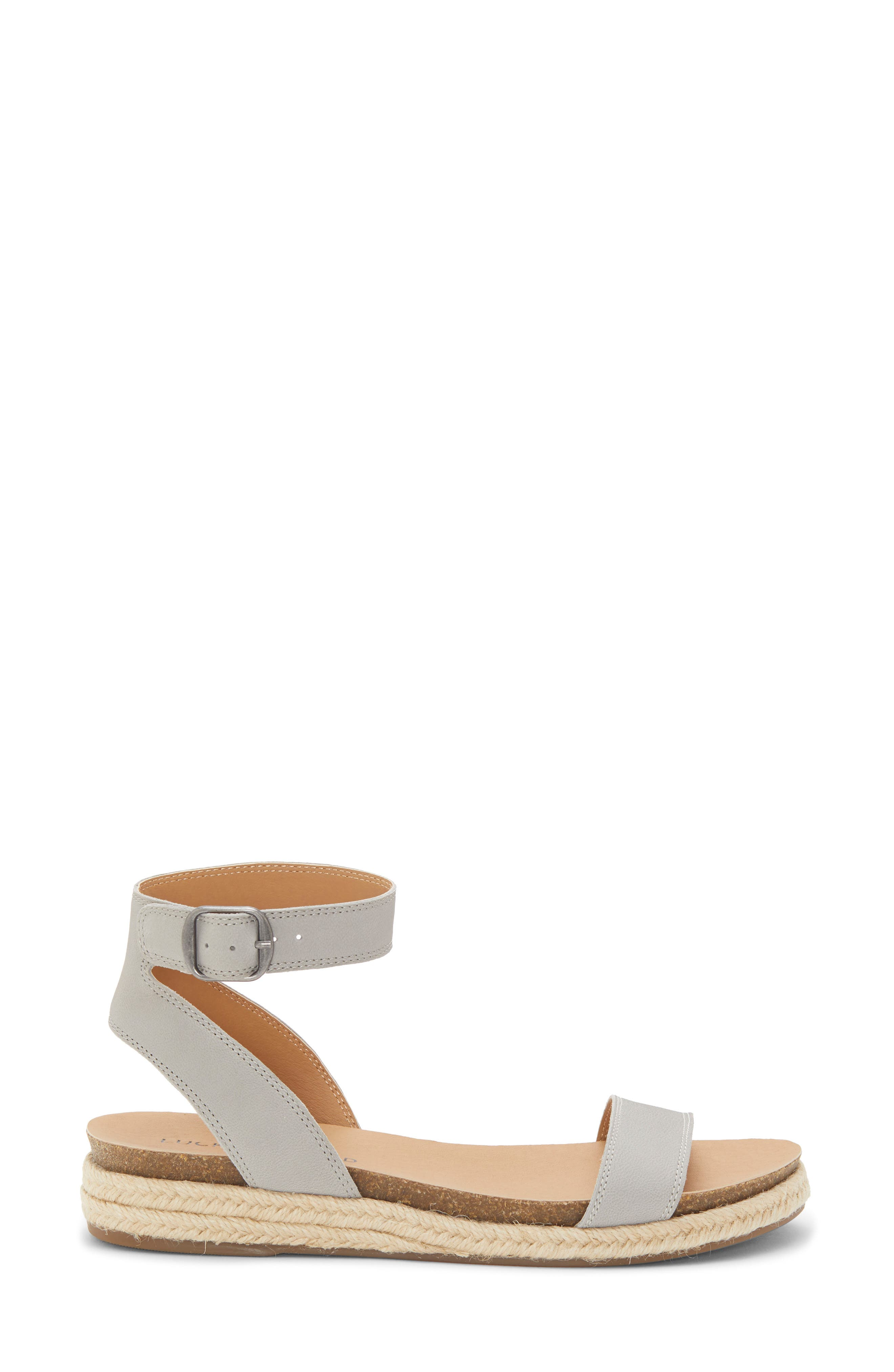 LUCKY BRAND, Garston Espadrille Sandal, Alternate thumbnail 3, color, CHINCHILLA LEATHER