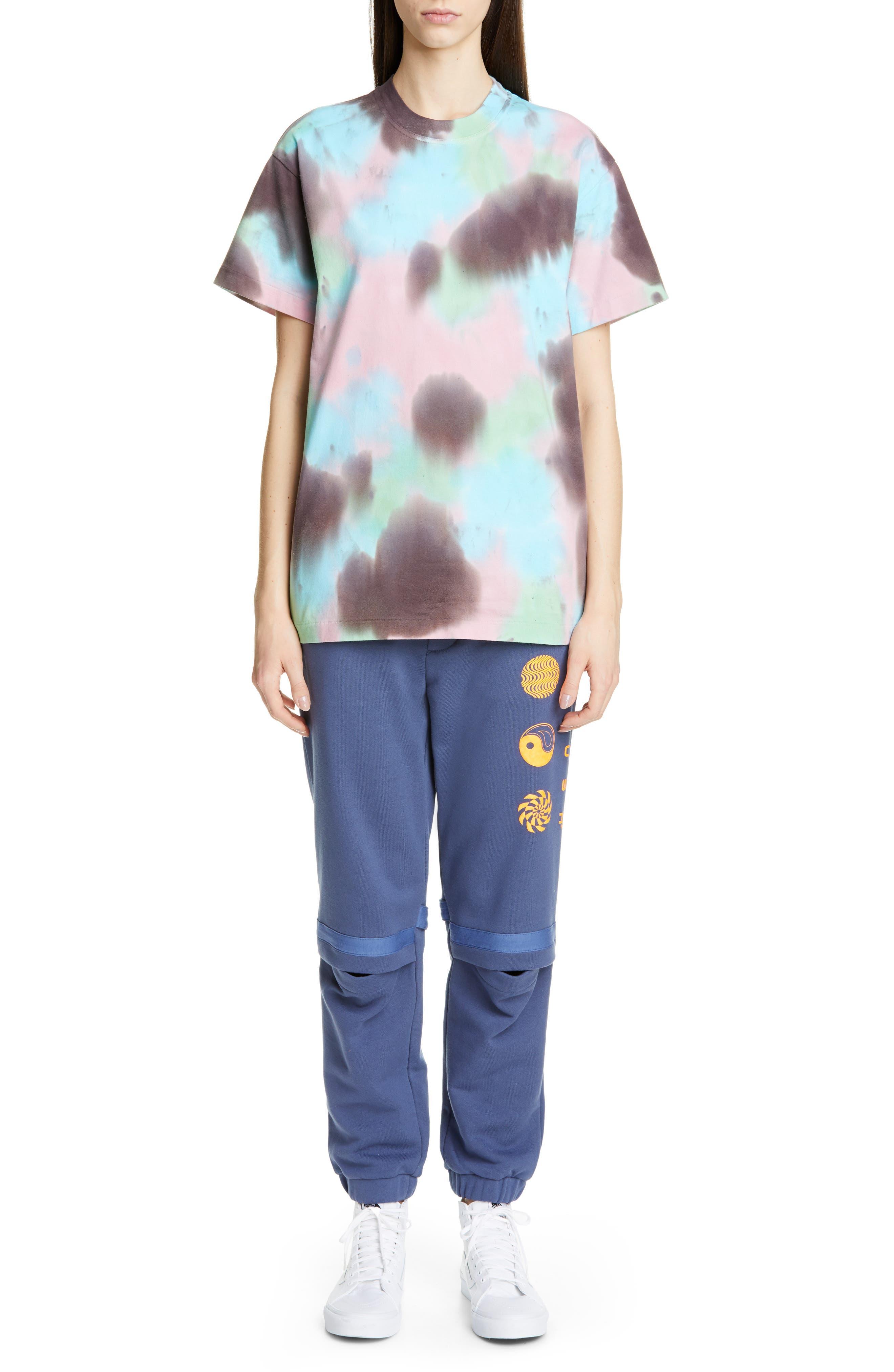 AMBUSH, Slit Knee Sweatpants, Alternate thumbnail 7, color, BLUE